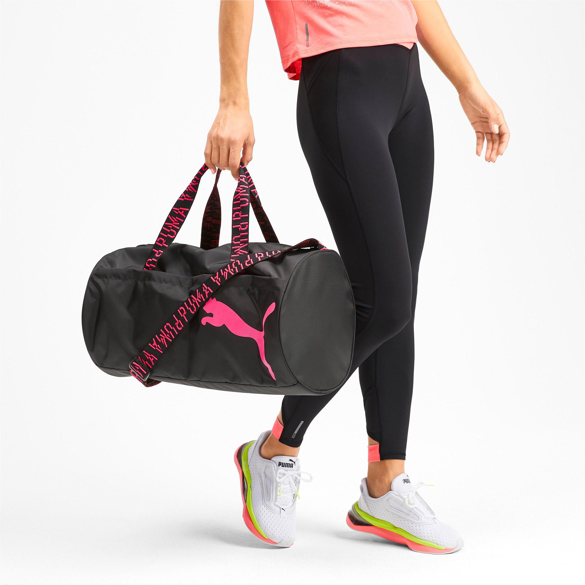 Thumbnail 2 of AT ESS Women's Training Duffel Bag, Puma Black-Pink Alert-AOP, medium