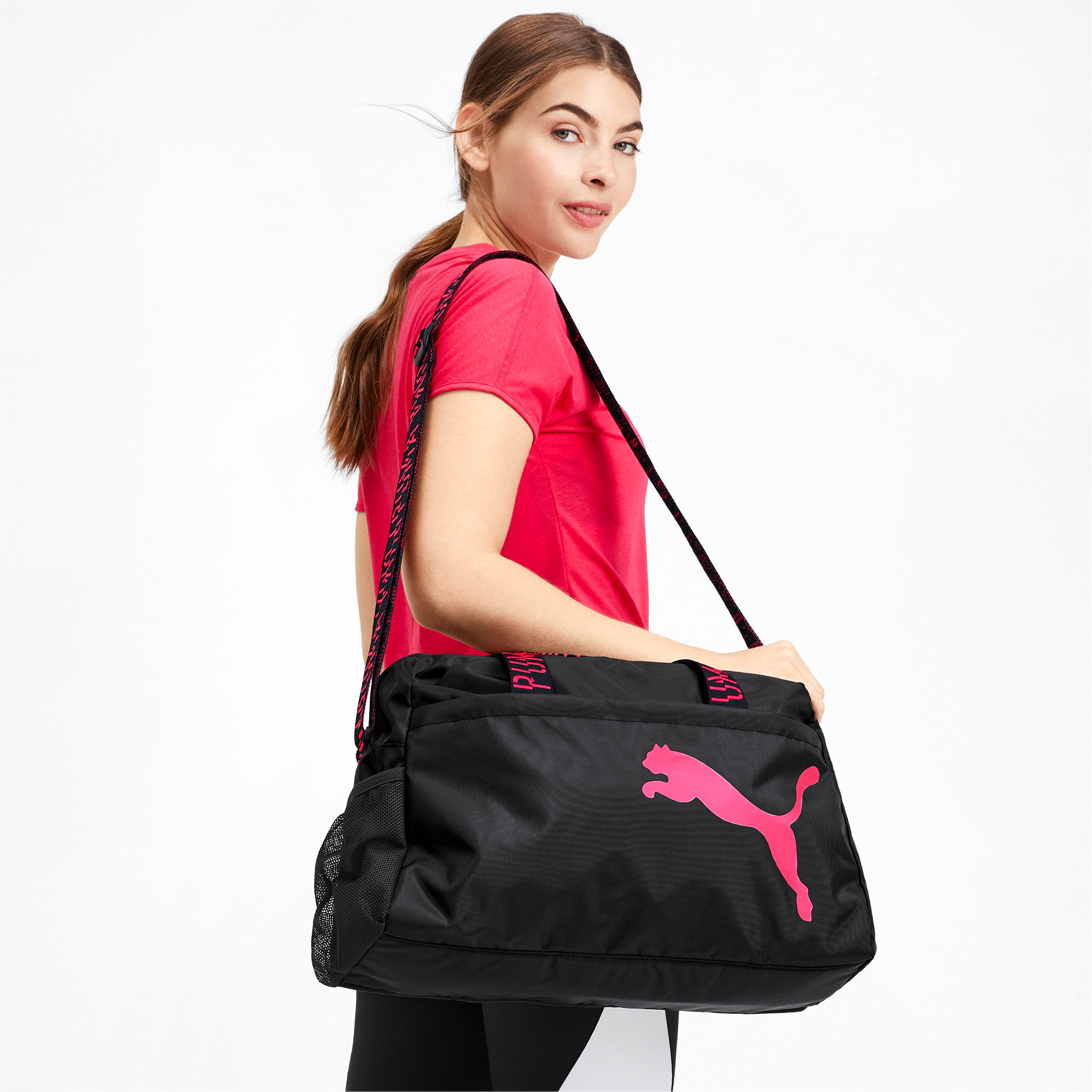 Thumbnail 2 of Active Training Essential Women's Grip Bag, Puma Black-Pink Alert-AOP, medium-IND