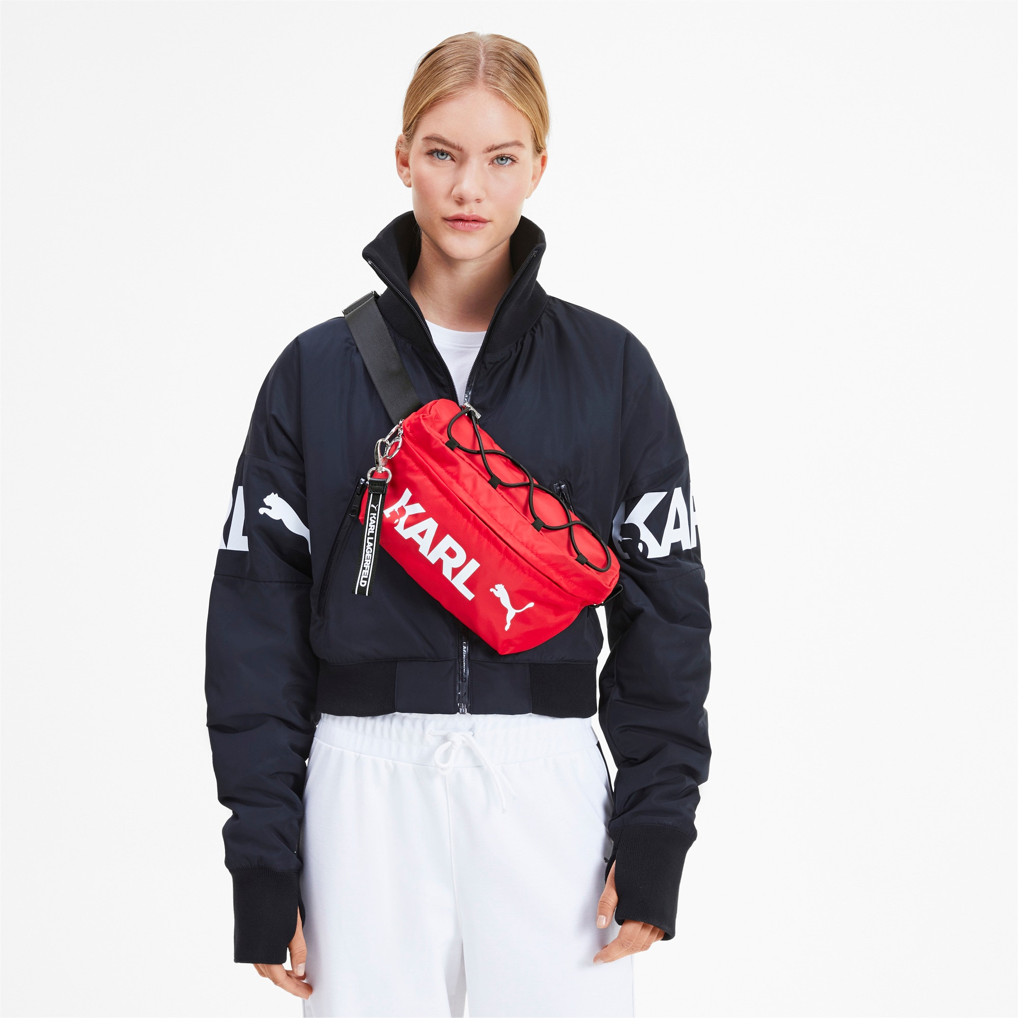 Thumbnail 3 of PUMA x KARL LAGERFELD Waist Bag, High Risk Red-Puma Black, medium