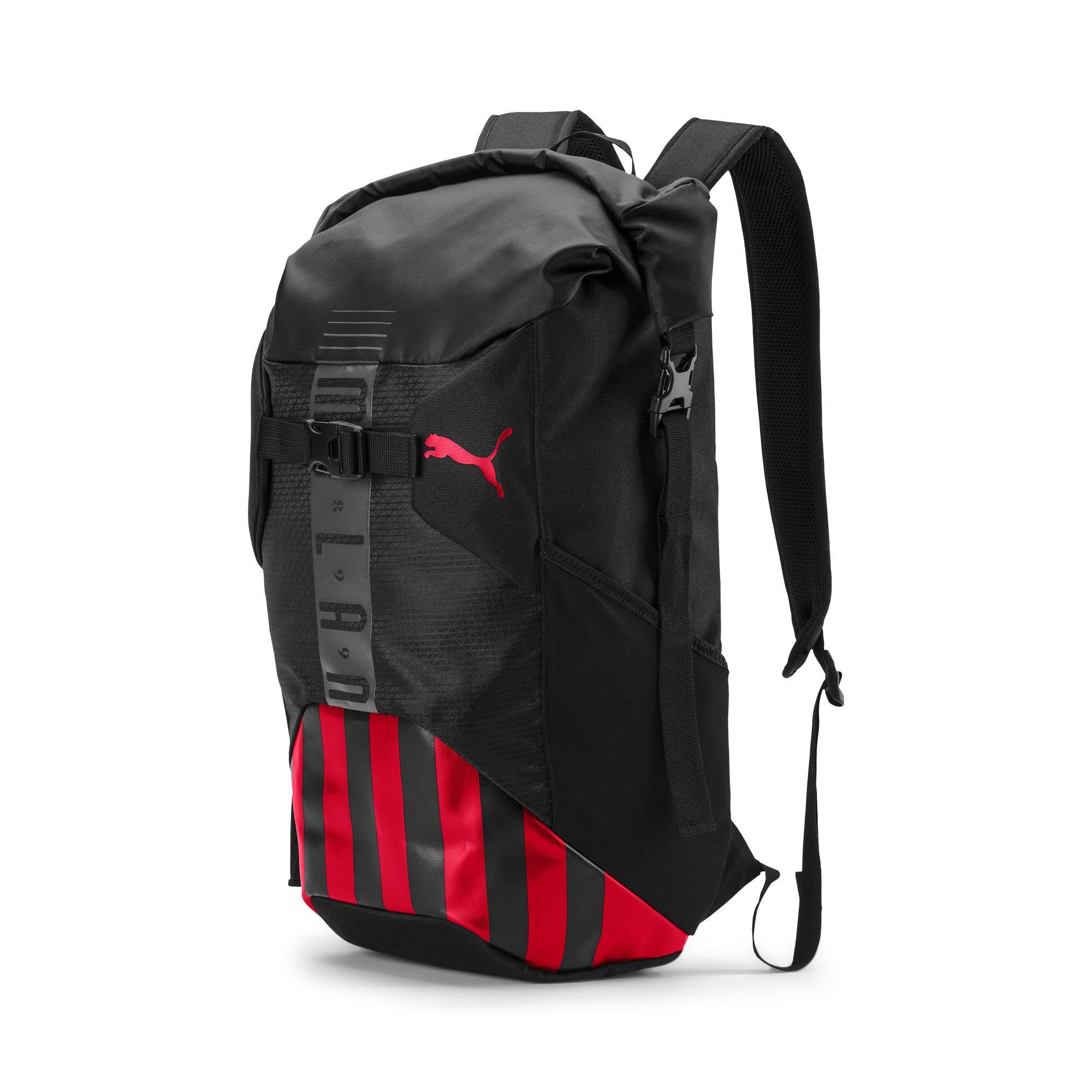 Thumbnail 1 of AC Milan Football Culture Rolltop Backpack, Puma Black-Tango Red, medium