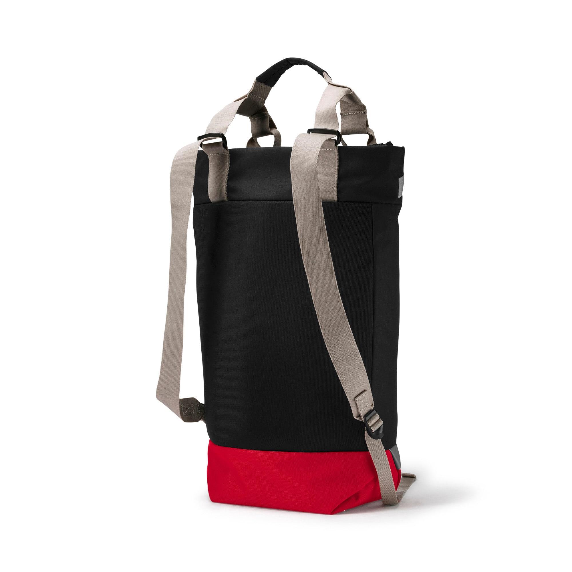 Thumbnail 2 of AC Milan Tote Backpack, Puma Black-Tango Red, medium-IND