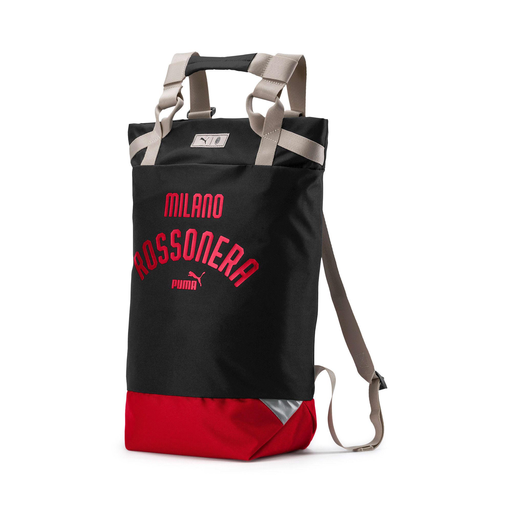 Thumbnail 1 of AC Milan Tote Backpack, Puma Black-Tango Red, medium-IND