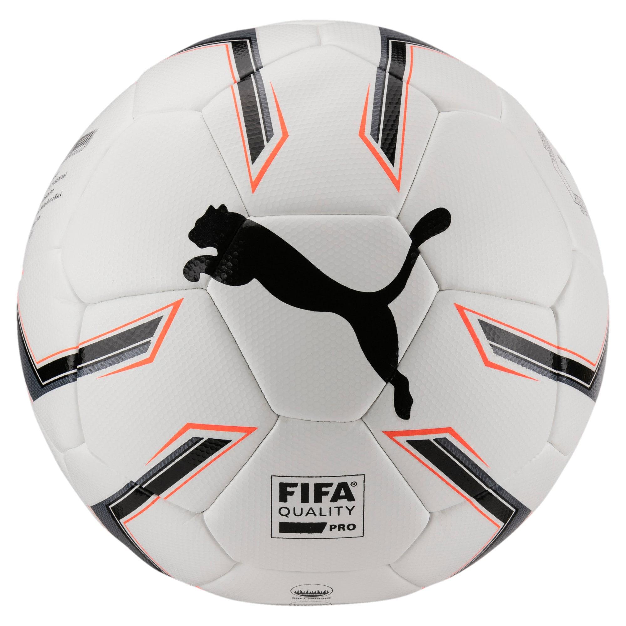 Thumbnail 1 of ELITE 1.2 FUSION Pro Soccer Ball, White-Black-Fiery Coral, medium