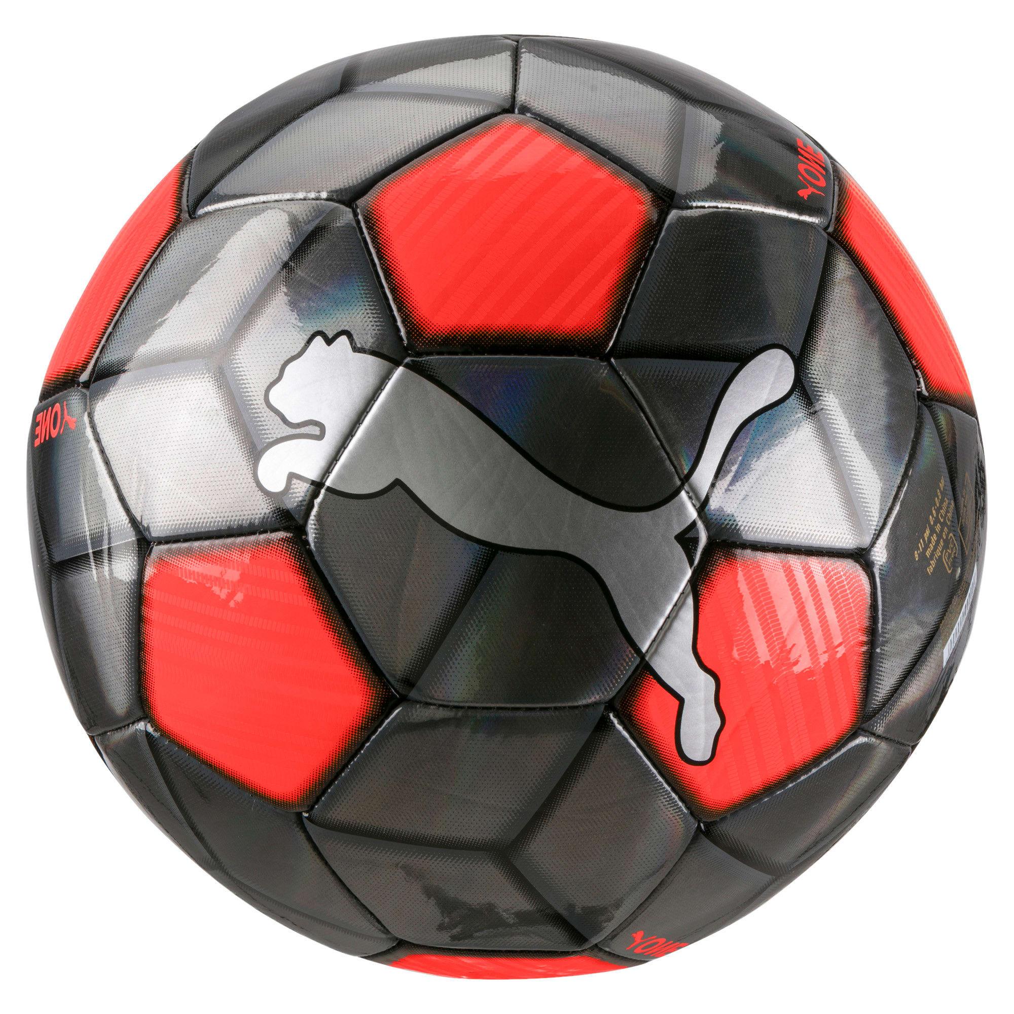 Thumbnail 1 of PUMA One Strap Soccer Ball, Silver-Nrgy Red-Puma Black, medium