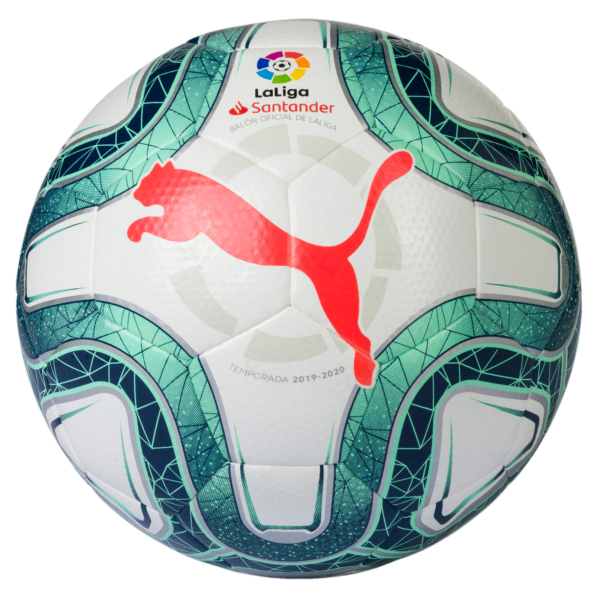 LaLiga 1 HYBRID (Dimple) Football, White-Green Glimmer-Nrgy Red, large