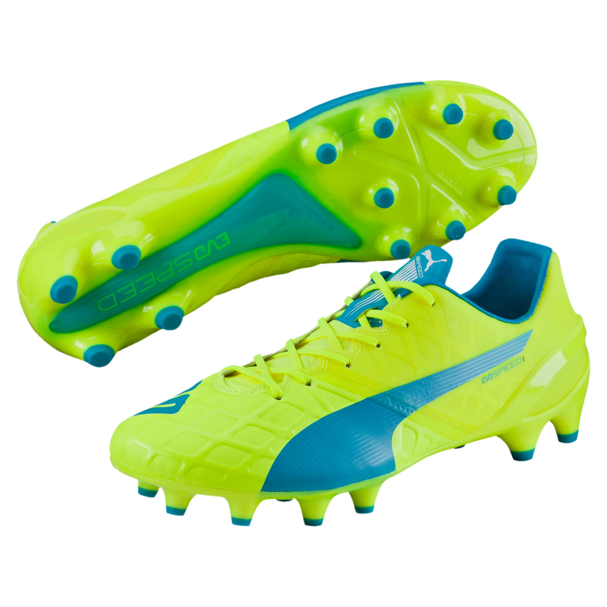 Thumbnail 2 of evoSPEED 1.4 FG Football Boots, yellow-blue-white, medium-IND