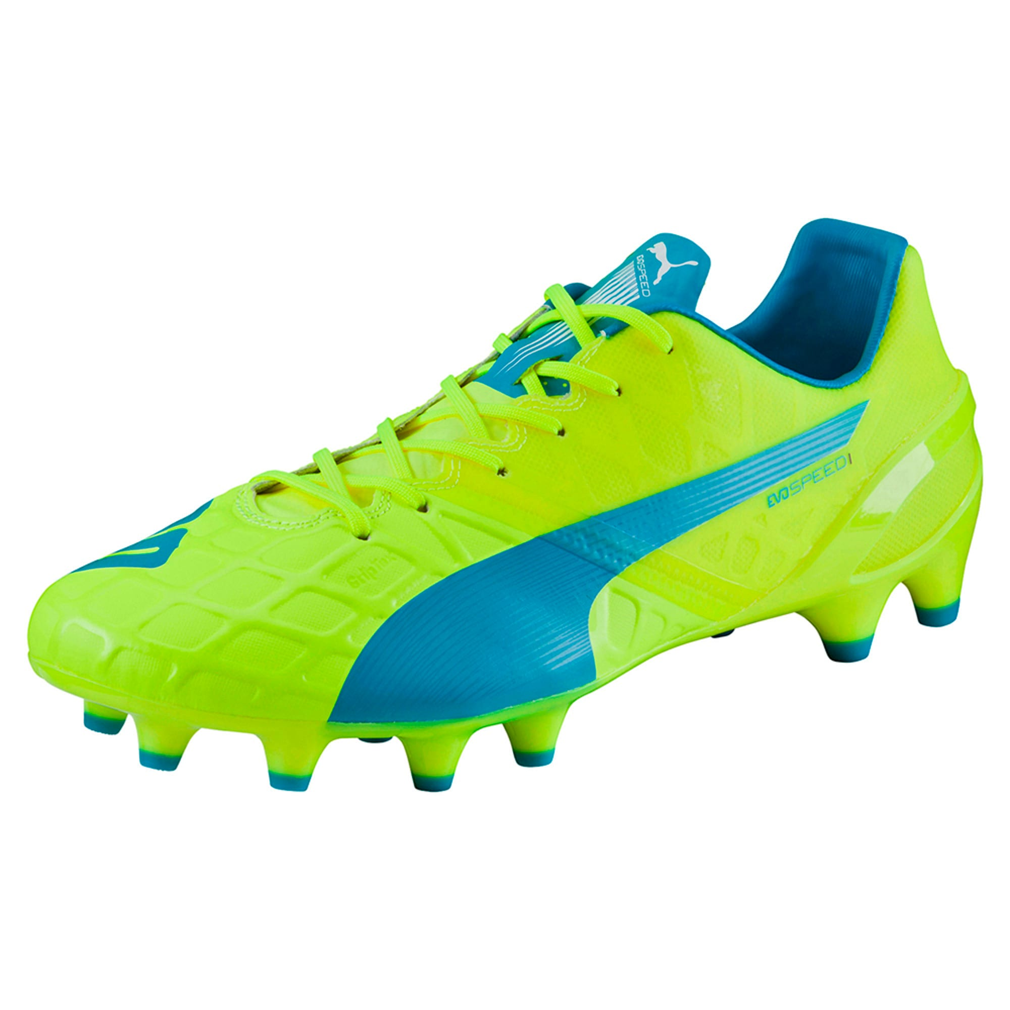 Thumbnail 1 of evoSPEED 1.4 FG Football Boots, yellow-blue-white, medium-IND