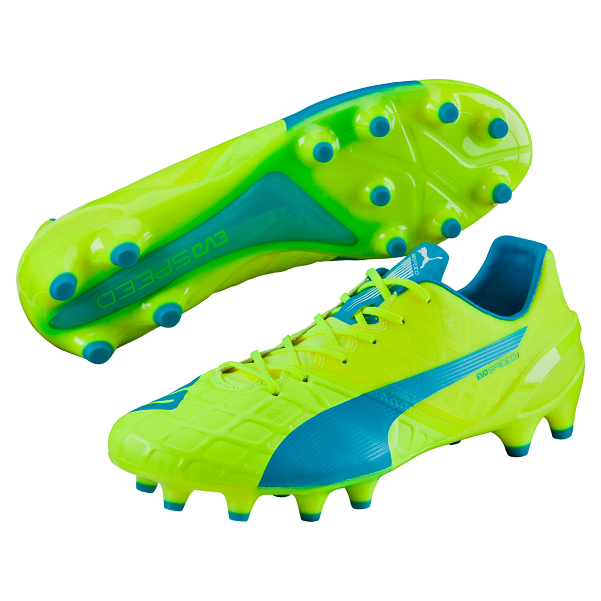 Thumbnail 6 of evoSPEED 1.4 FG Football Boots, yellow-blue-white, medium-IND
