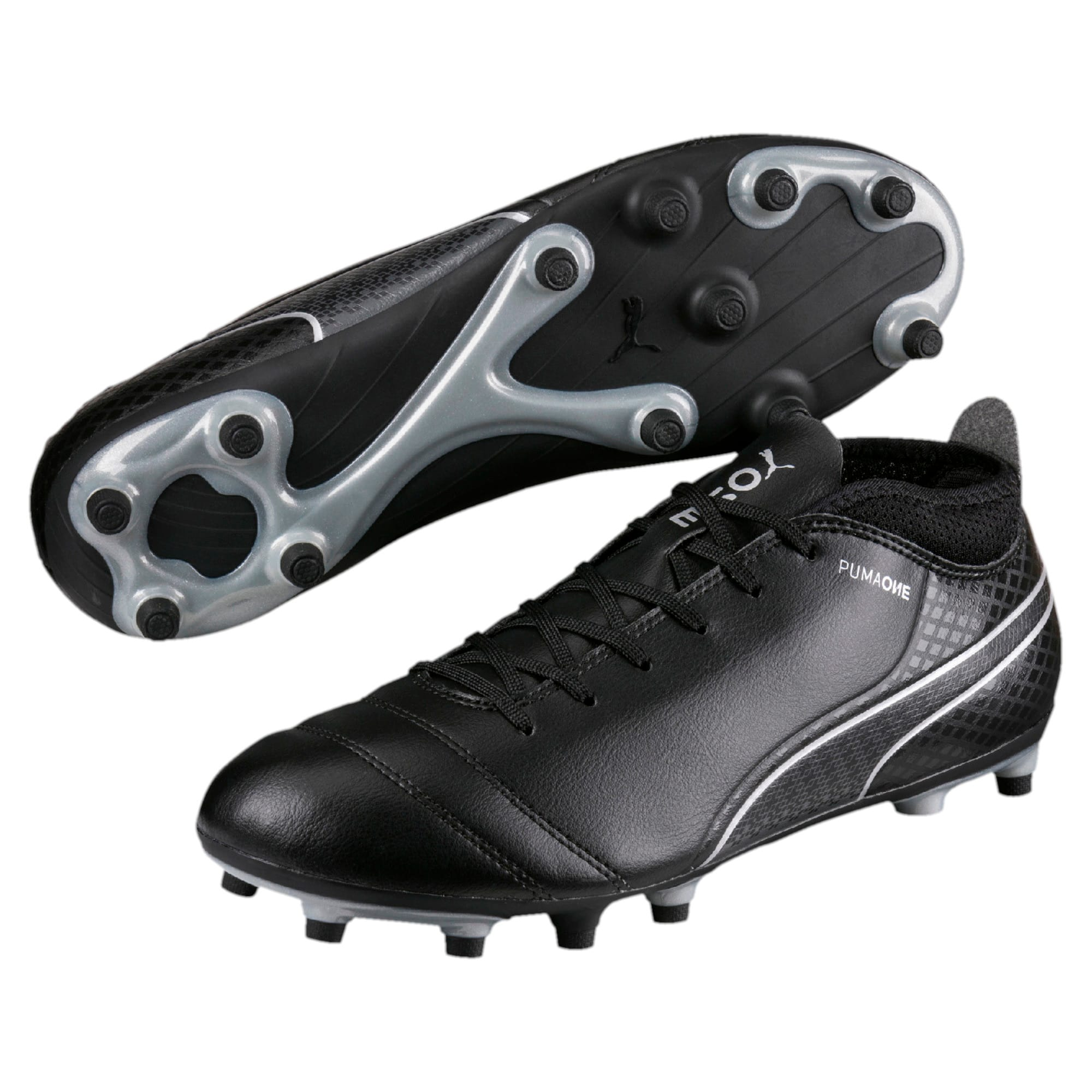 Thumbnail 6 of ONE 17.4 FG Men's Football Boots, Black-Black-Silver, medium-IND