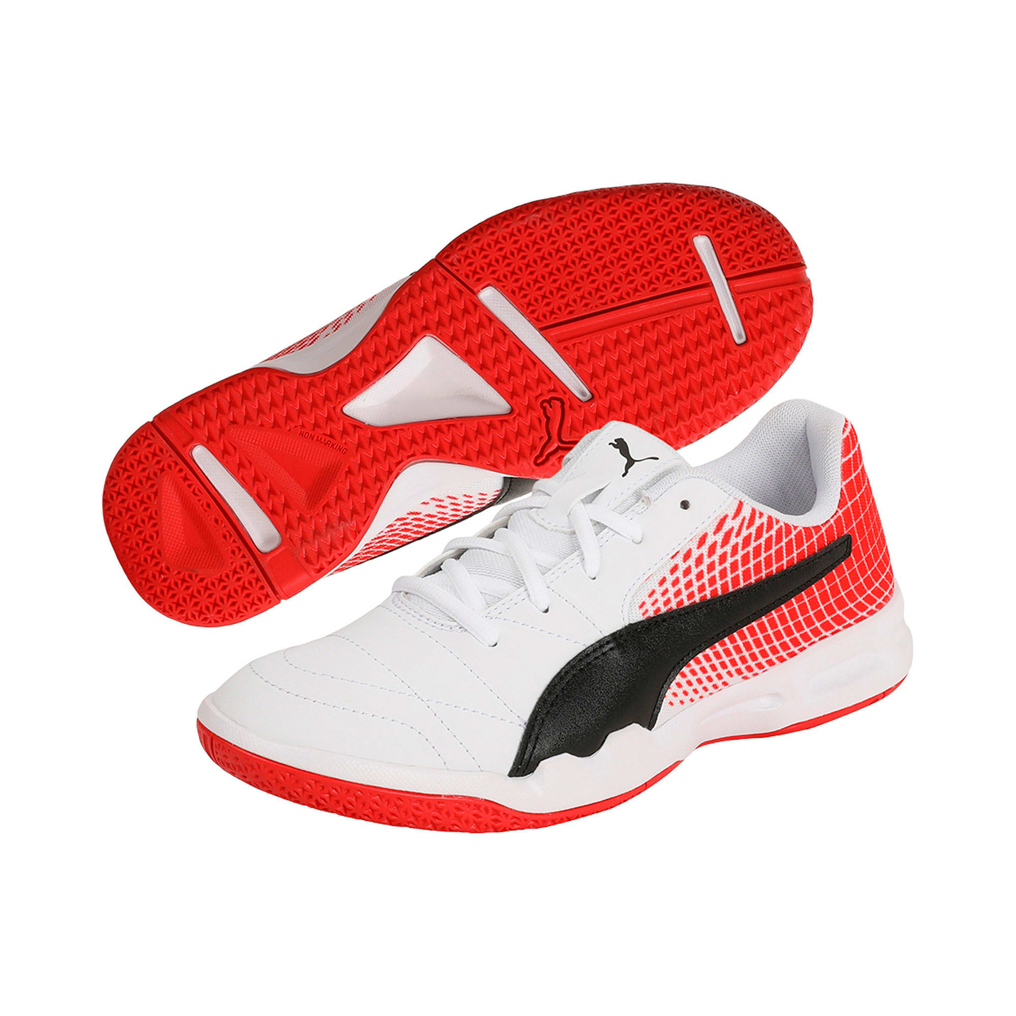 Thumbnail 2 of Veloz Indoor NG Kids' Training Shoes, White-Black-Flame Scarlet, medium-IND