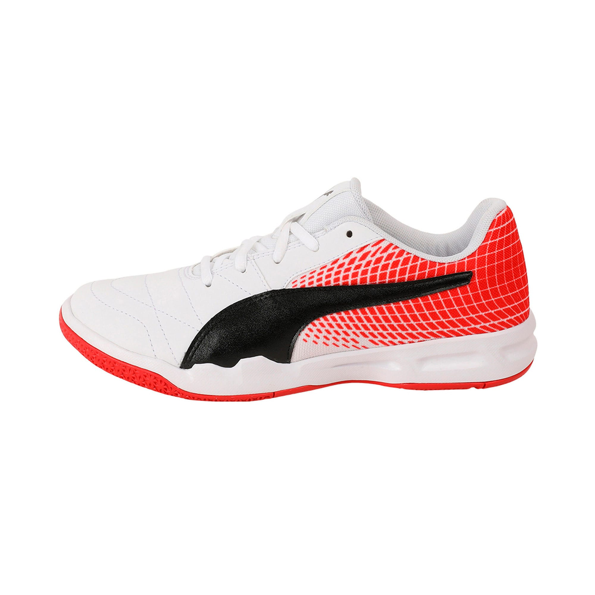 Thumbnail 1 of Veloz Indoor NG Kids' Training Shoes, White-Black-Flame Scarlet, medium-IND