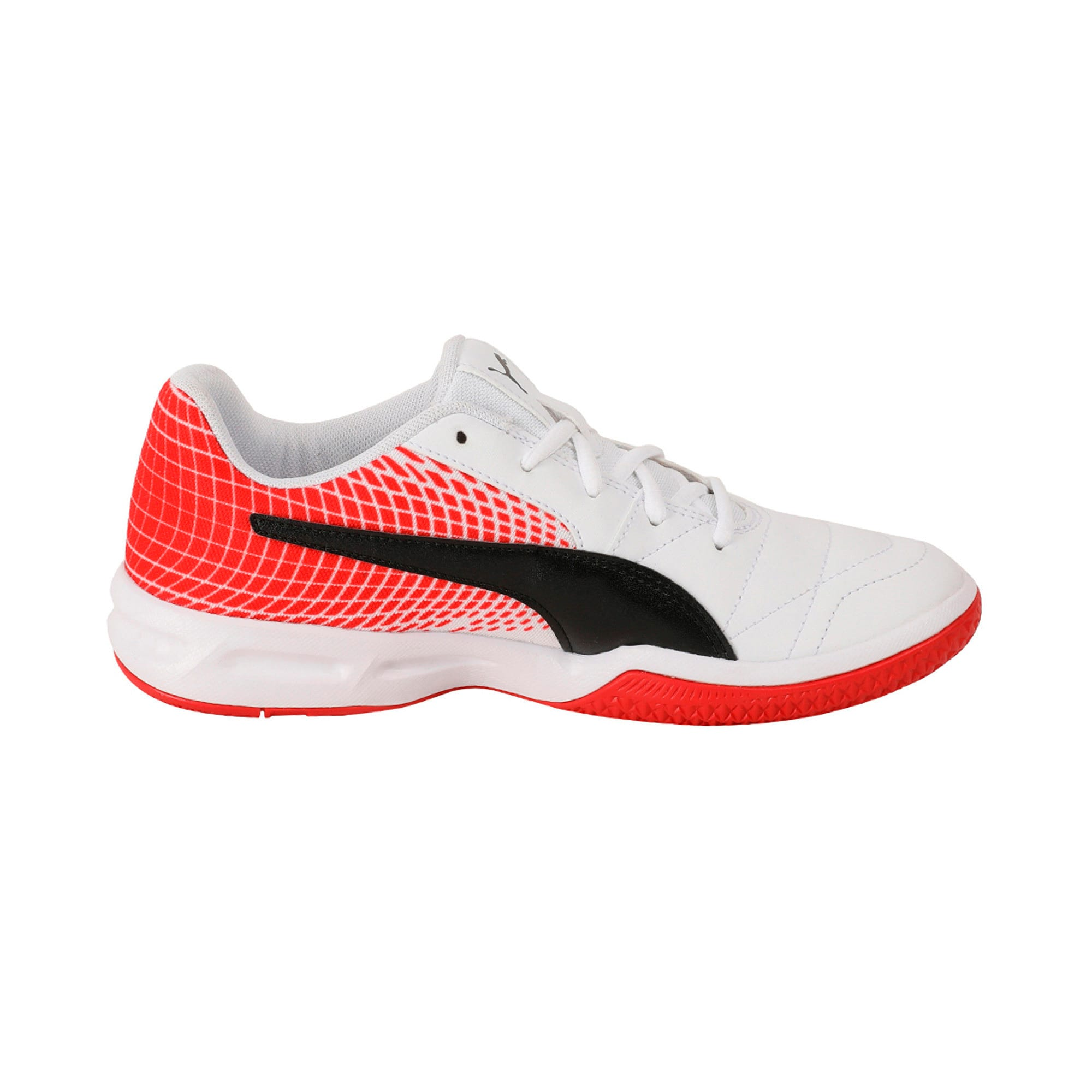 Thumbnail 5 of Veloz Indoor NG Kids' Training Shoes, White-Black-Flame Scarlet, medium-IND