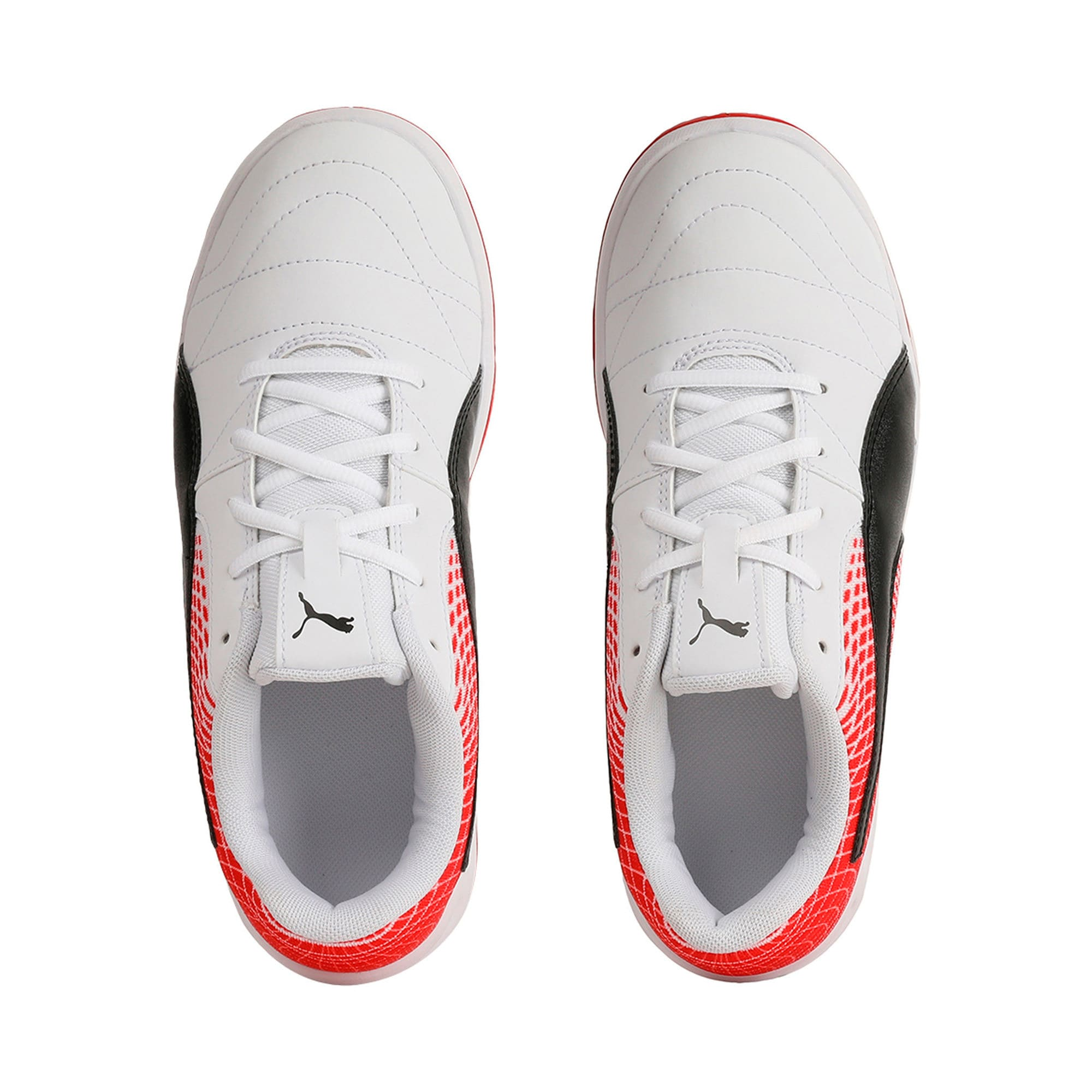 Thumbnail 6 of Veloz Indoor NG Kids' Training Shoes, White-Black-Flame Scarlet, medium-IND