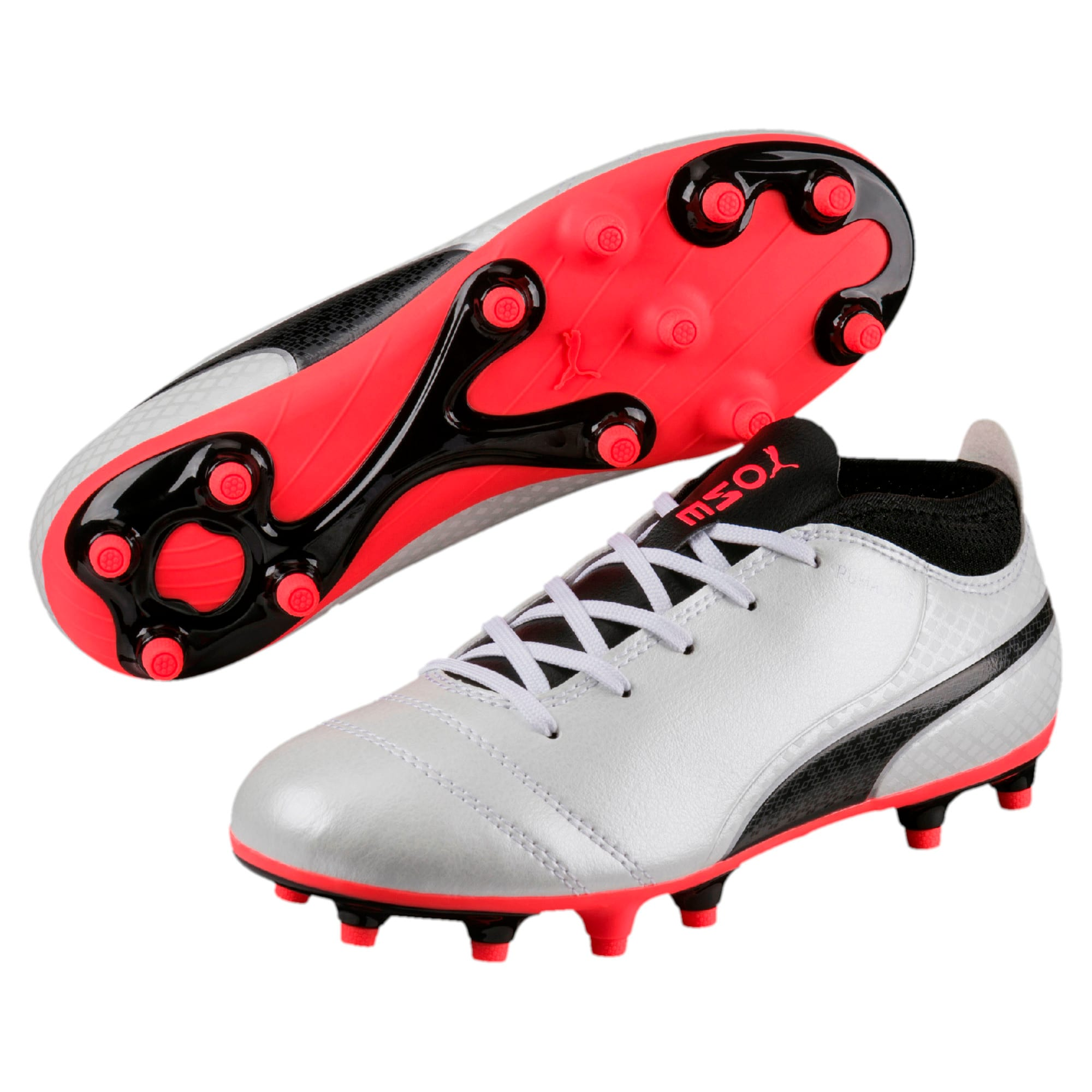 Thumbnail 6 of ONE 17.4 FG Kids' Football Boots, White-Black-Coral, medium-IND