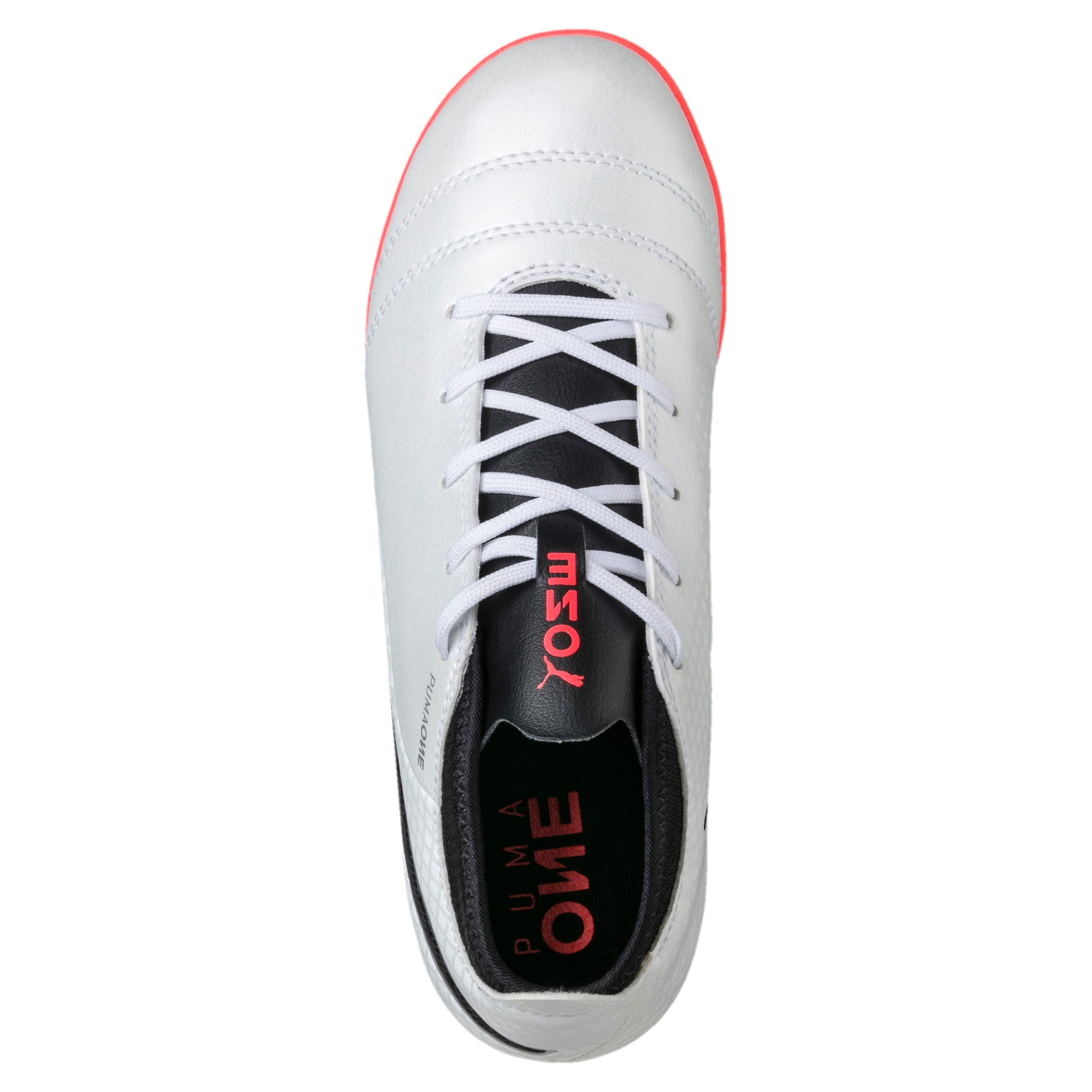 Thumbnail 5 of ONE 17.4 TT Kids' Football Boots, White-Black-Coral, medium-IND