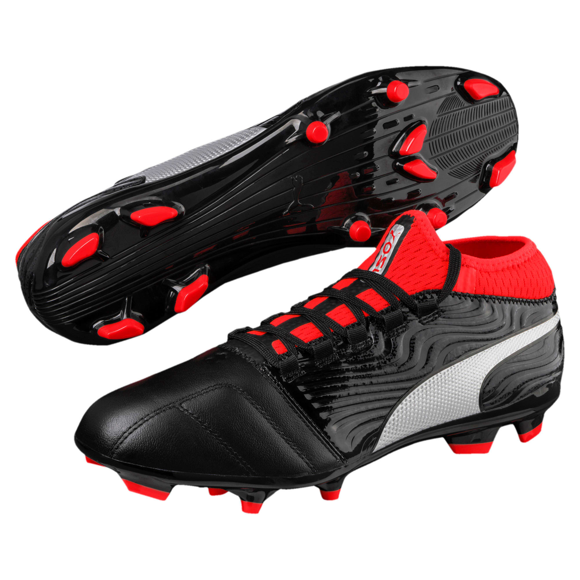 Thumbnail 2 of ONE 18.3 FG Men's Football Boots, Black-Silver-Red, medium-IND