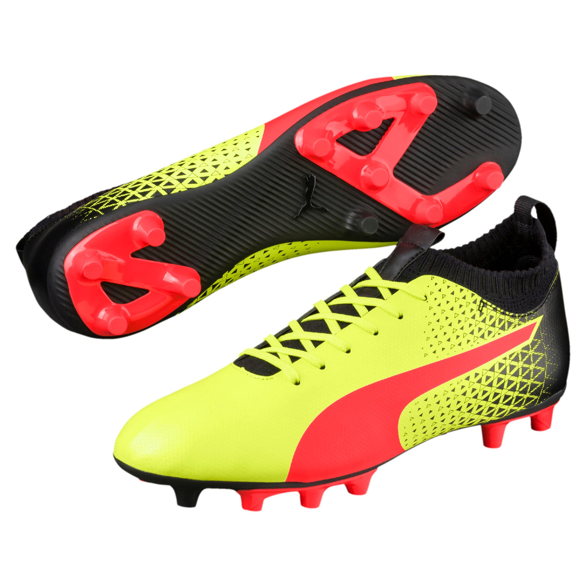 Thumbnail 2 of evoKNIT FG Men's Football Boots, Yellow-Red-Black, medium-IND