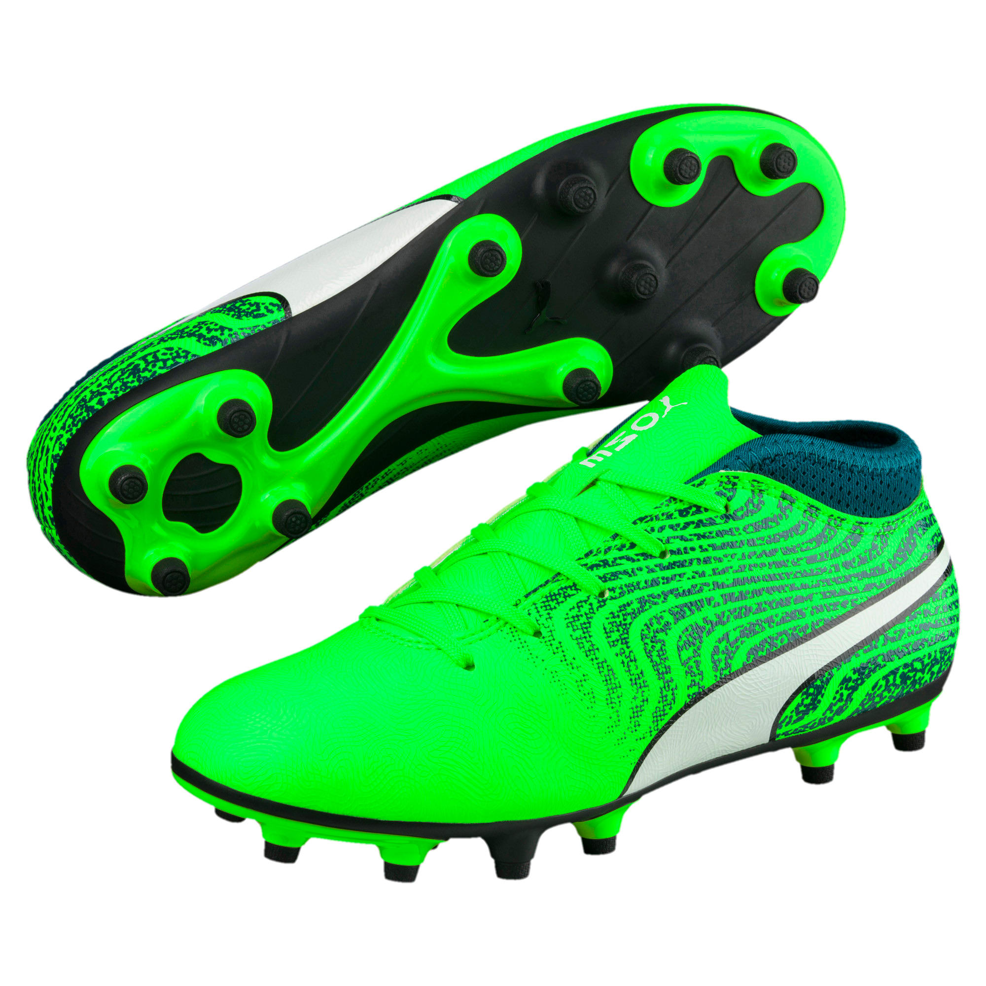 Thumbnail 2 of ONE 18.4 FG Kids' Football Boots, Green-White-Deep Lagoon, medium-IND