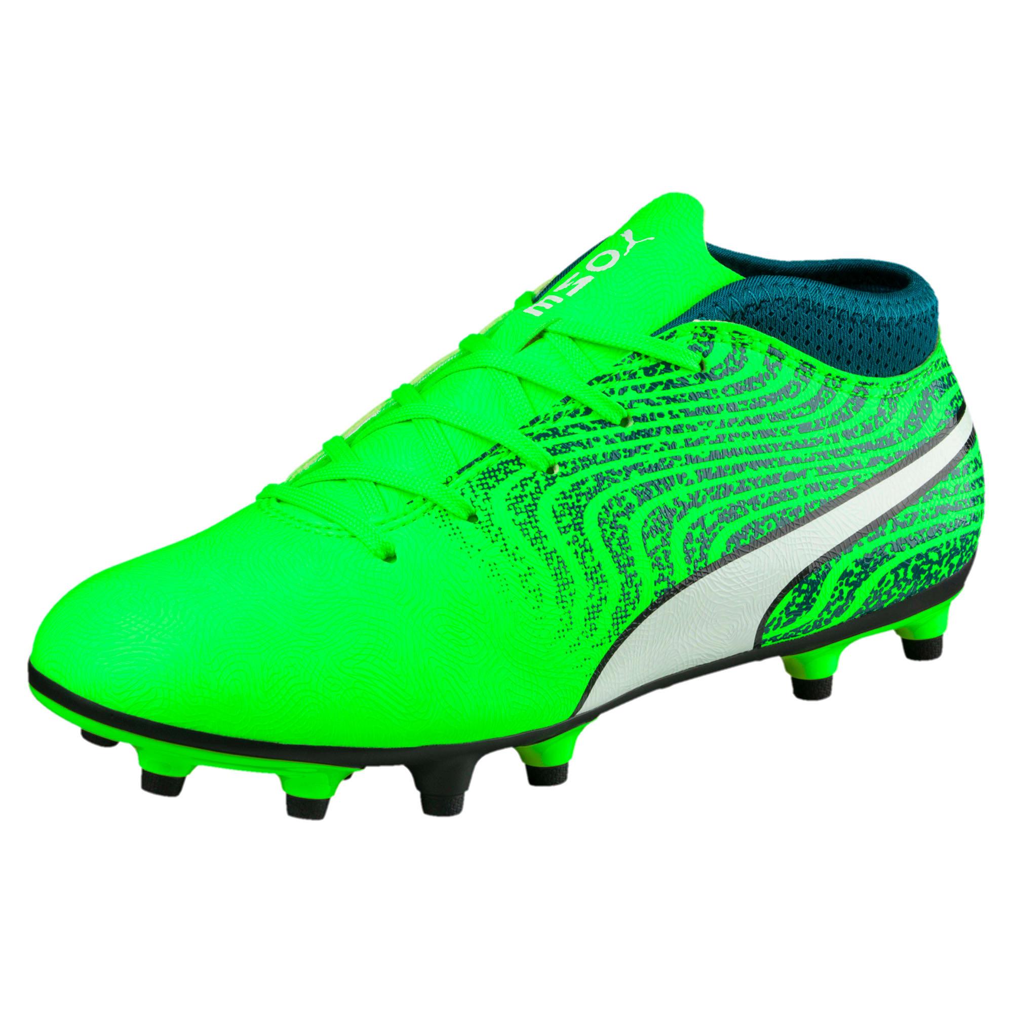 Thumbnail 1 of ONE 18.4 FG Kids' Football Boots, Green-White-Deep Lagoon, medium-IND
