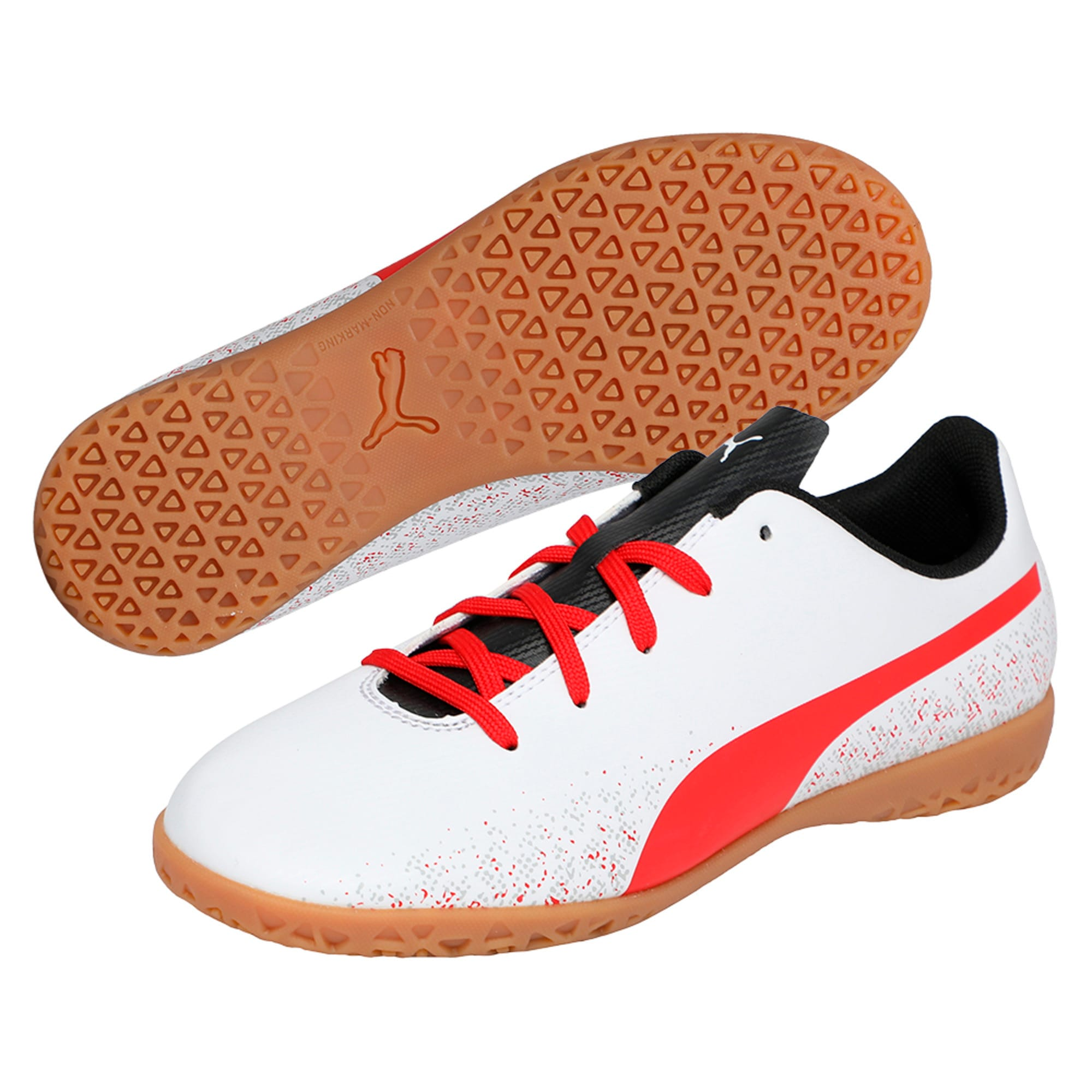 Thumbnail 2 of Truora IT Kids' Indoor Training Shoes, White-Flame Scarlet-Black, medium-IND
