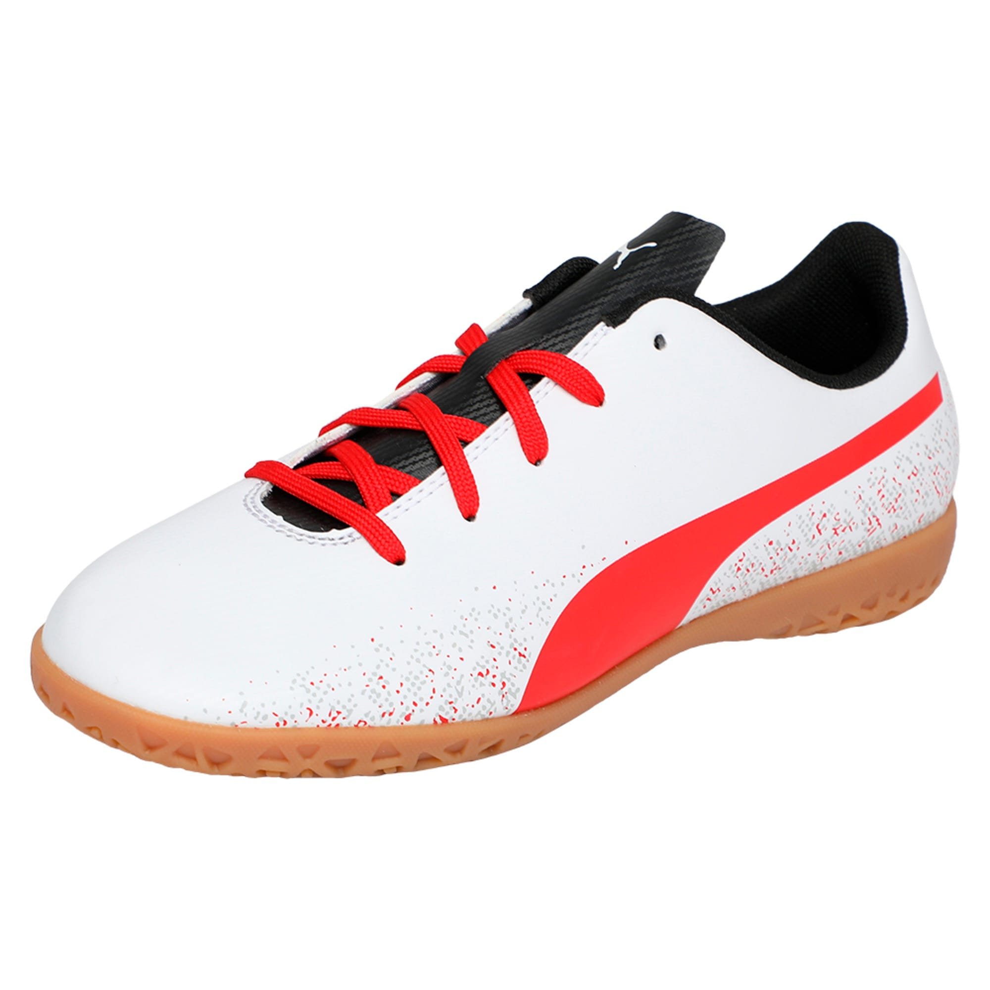 Thumbnail 1 of Truora IT Kids' Indoor Training Shoes, White-Flame Scarlet-Black, medium-IND