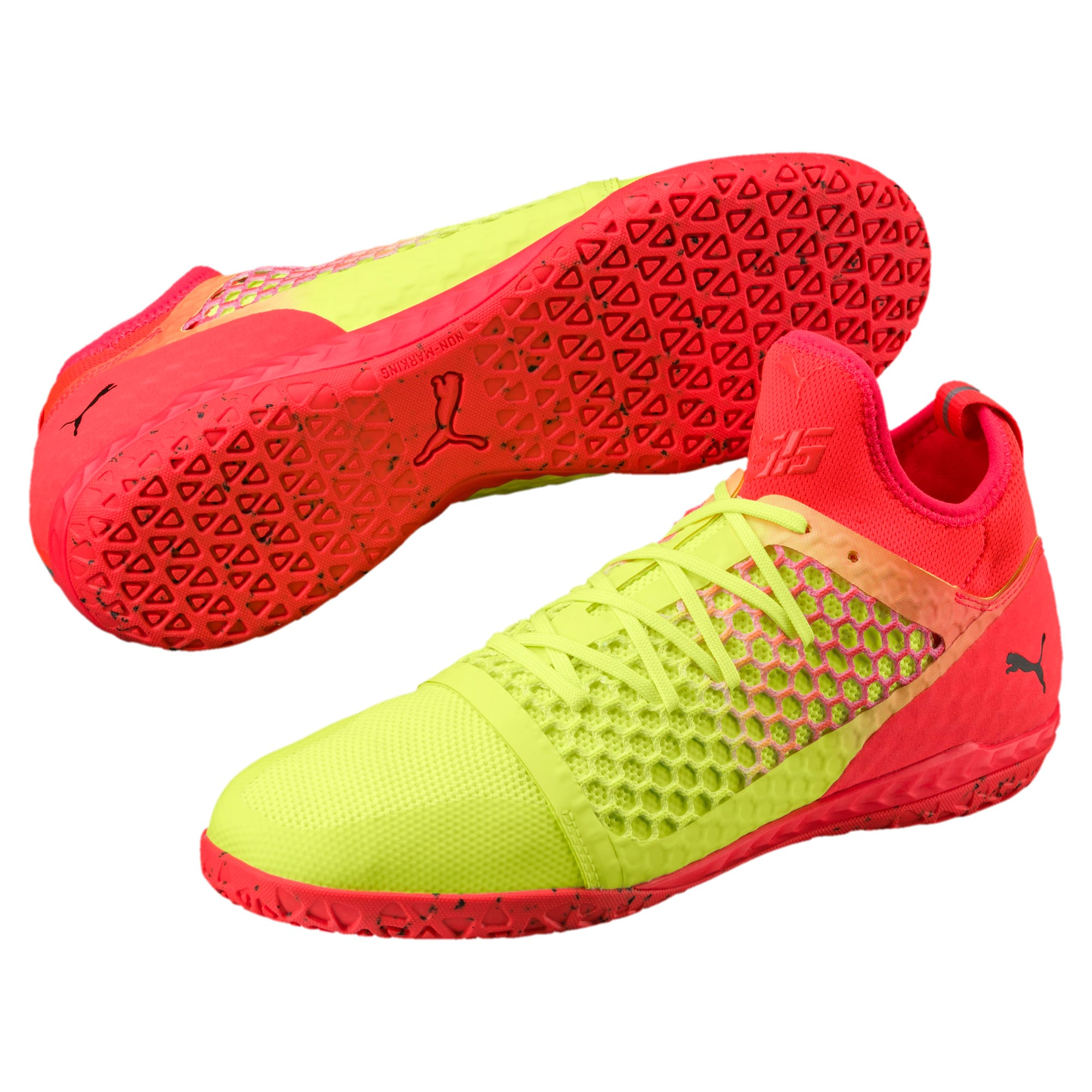 Thumbnail 2 of 365 IGNITE NETFIT CT Men's Court Football Boots, Yellow-Red-Black, medium-IND