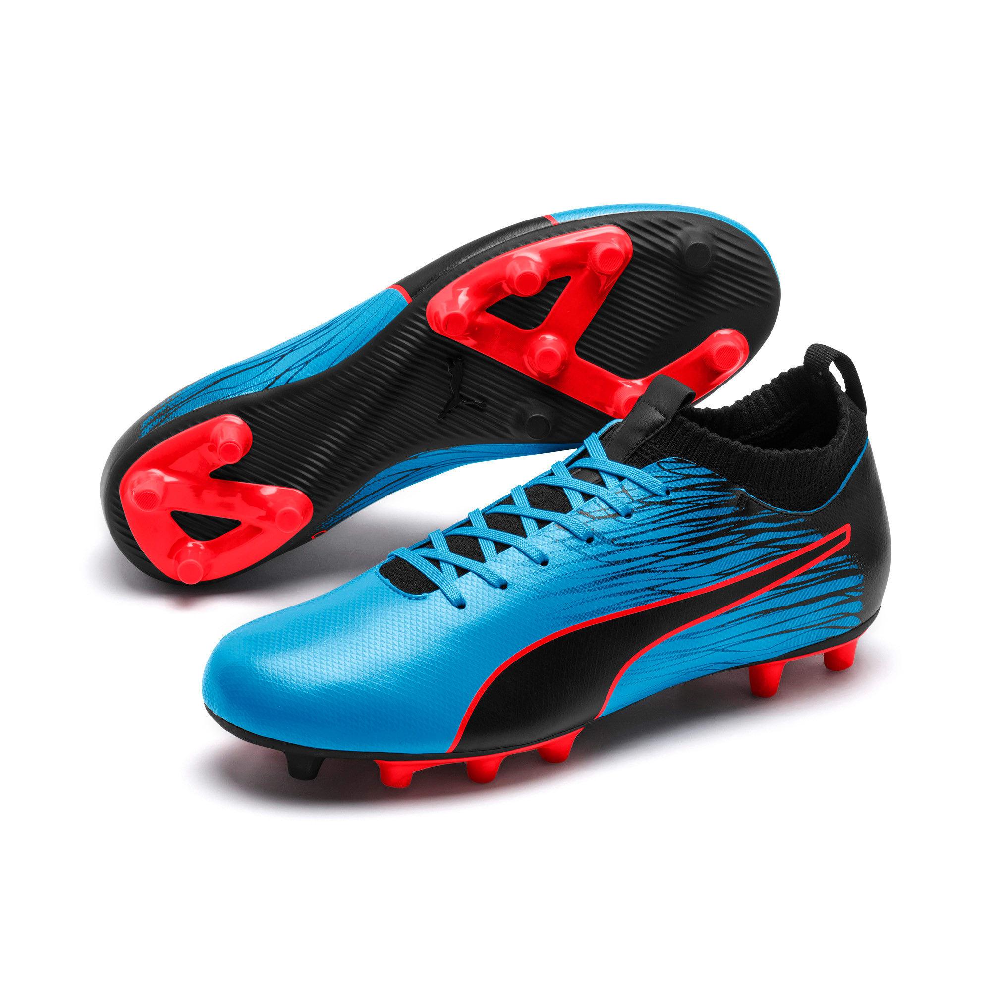 Thumbnail 4 of evoKNIT FTB II FG Men's Football Boots, Bleu Azur-Red Blast-Black, medium-IND