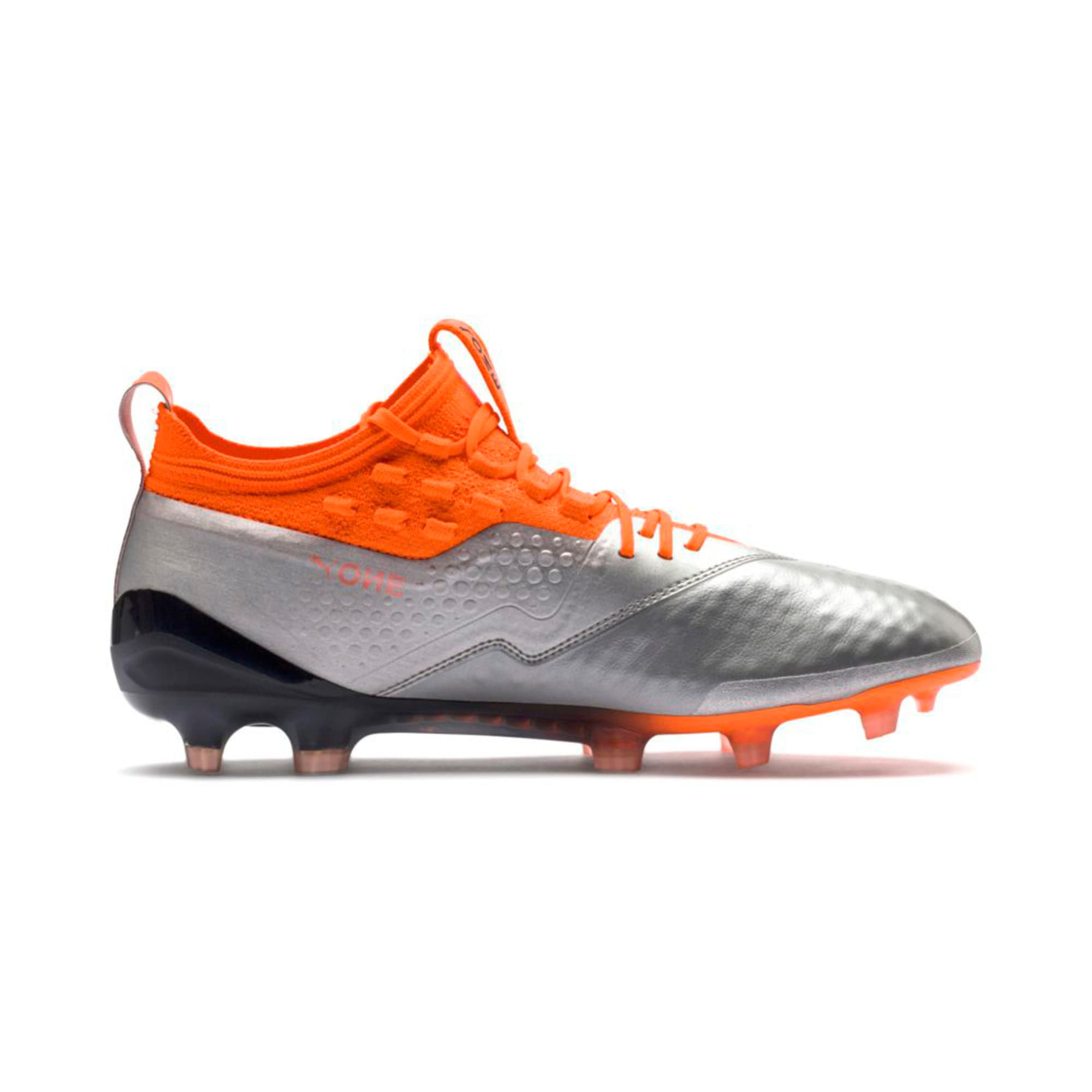 Thumbnail 6 of PUMA ONE 1 Leather FG/AG Men's Football Boots, Silver-Orange-Black, medium-IND