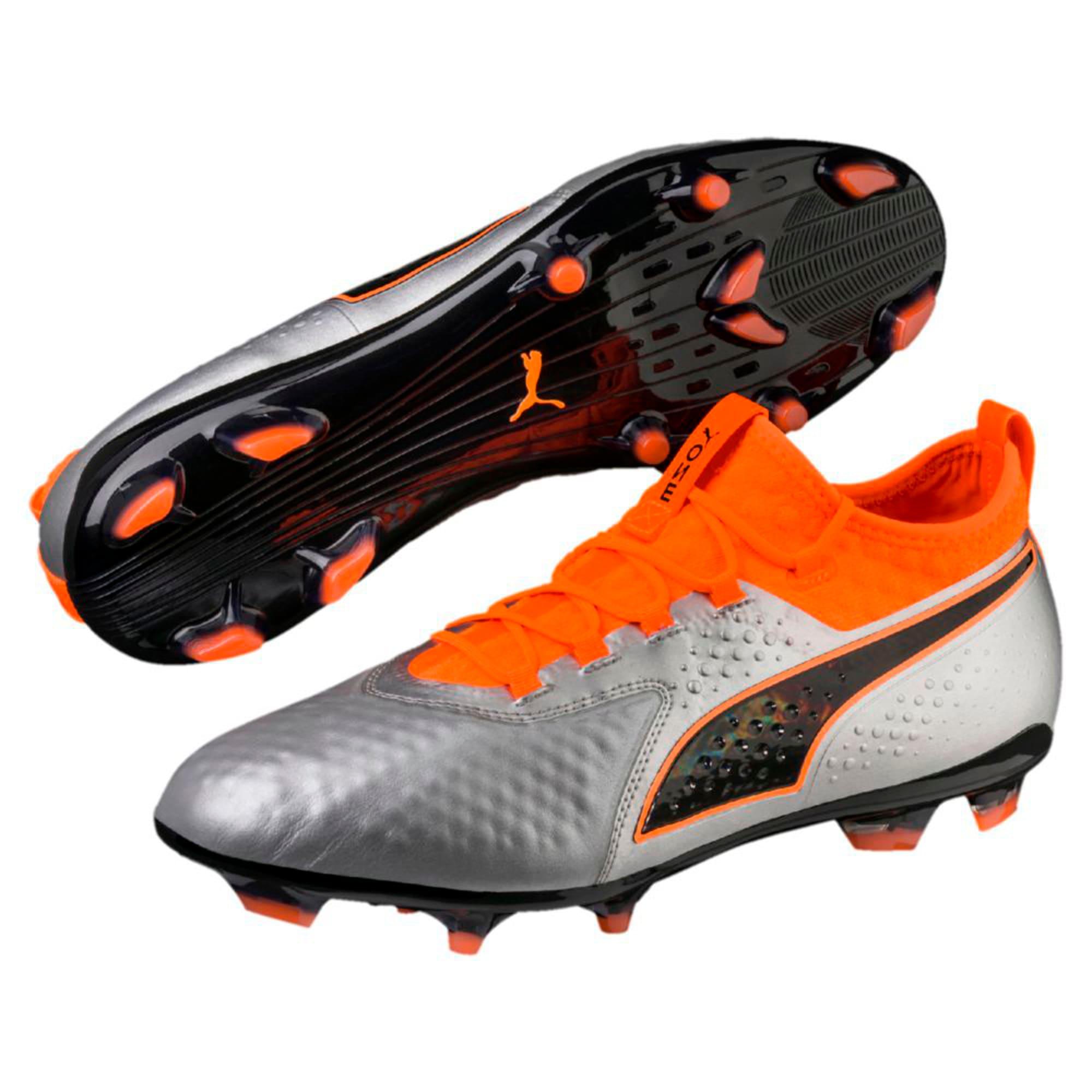 Thumbnail 6 of PUMA ONE 2 Leather FG  Football Boots, Silver-Orange-Black, medium-IND