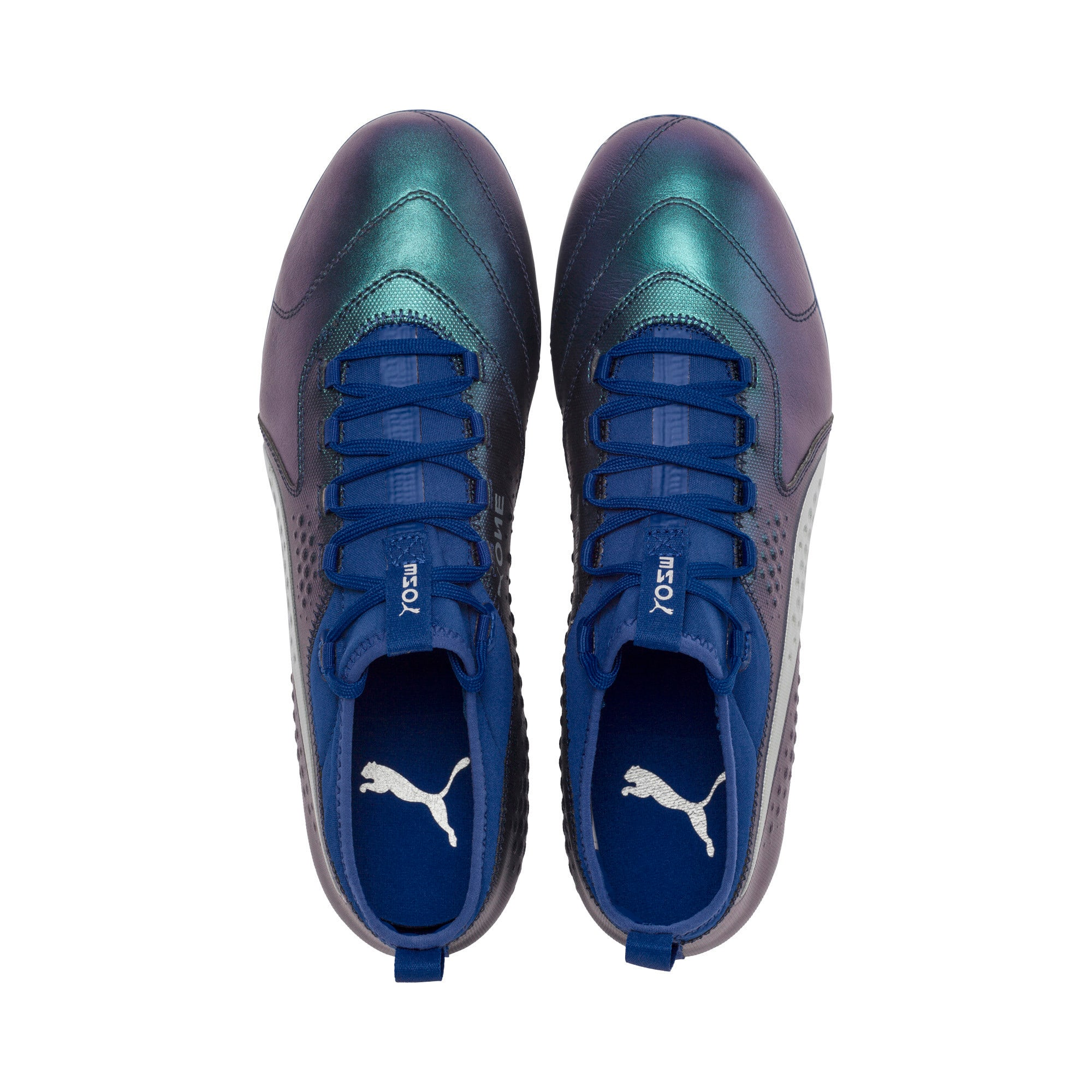 Thumbnail 6 of PUMA ONE 3 Leather FG Men's Football Boots, Sodalite Blue-Silver-Peacoat, medium-IND
