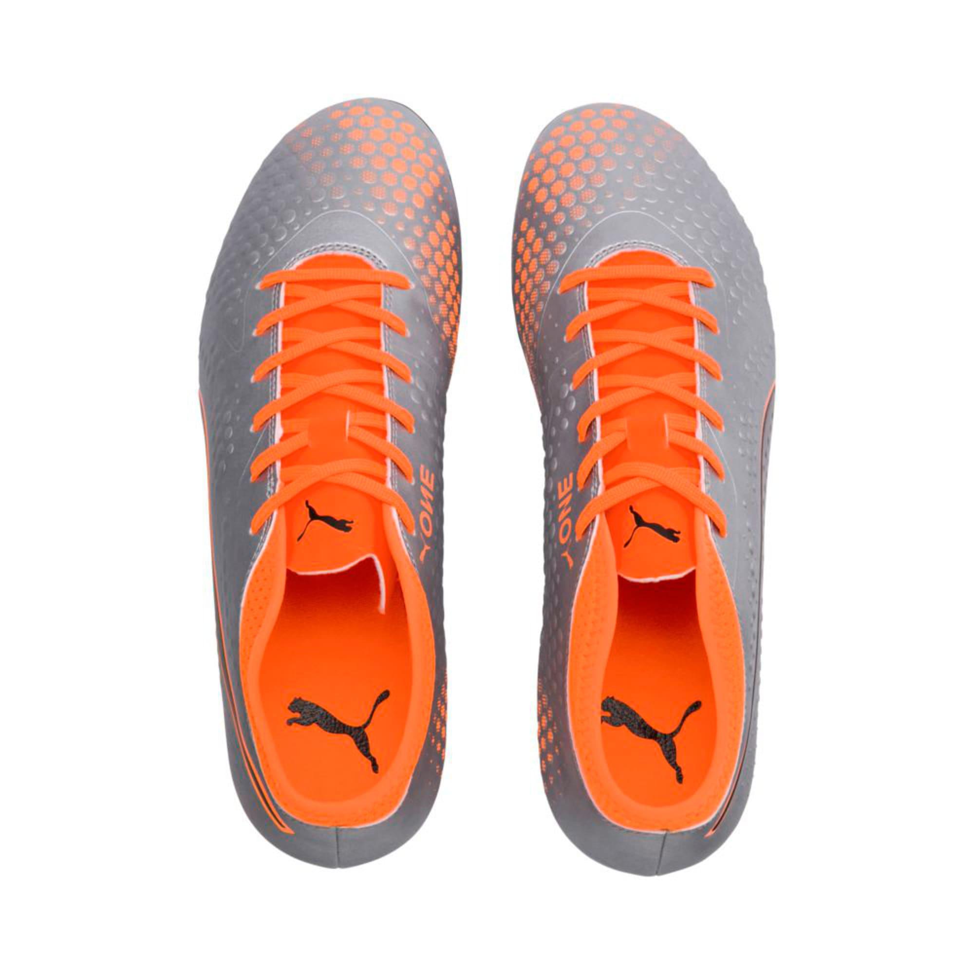 Thumbnail 3 of PUMA ONE 4 Synthetic FG Men's Football Boots, Silver-Orange-Black, medium-IND