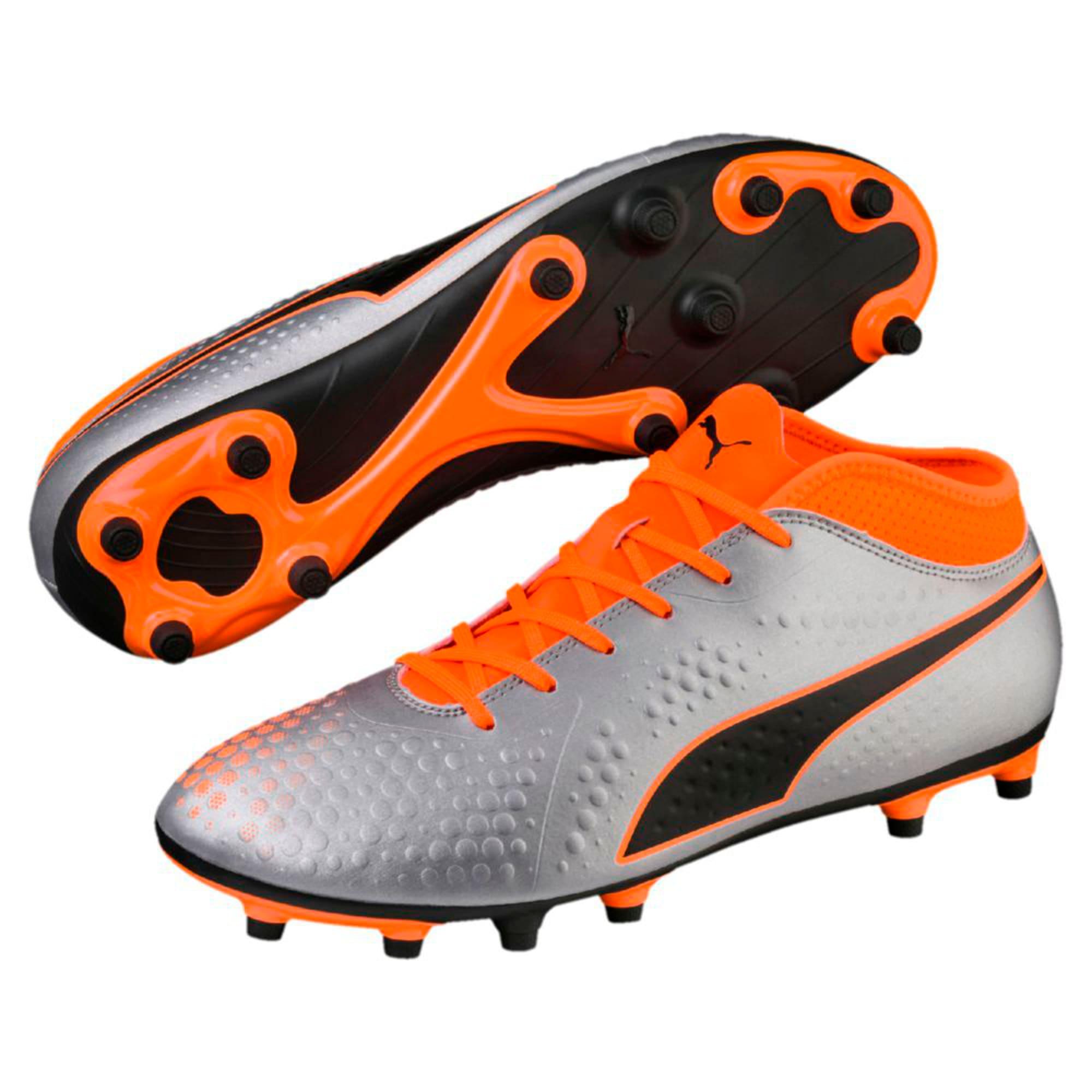 Thumbnail 6 of PUMA ONE 4 Synthetic FG Men's Football Boots, Silver-Orange-Black, medium-IND