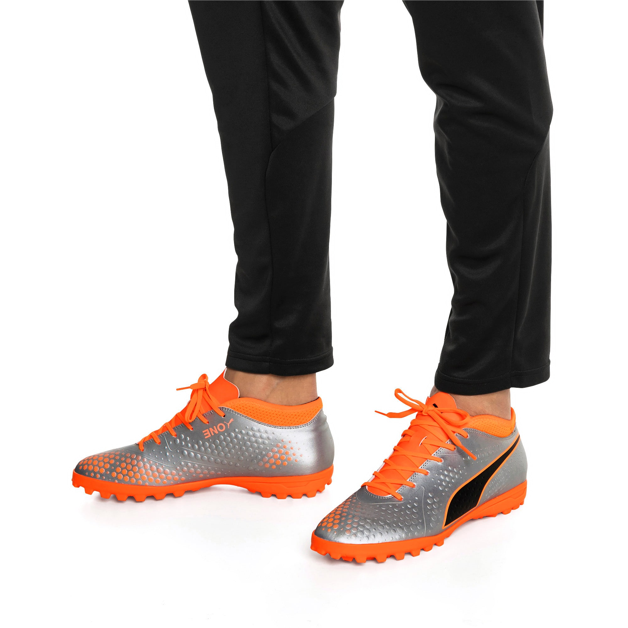 Thumbnail 7 of PUMA ONE 4 Synthetic TT Men's Football Boots, Silver-Orange-Black, medium-IND