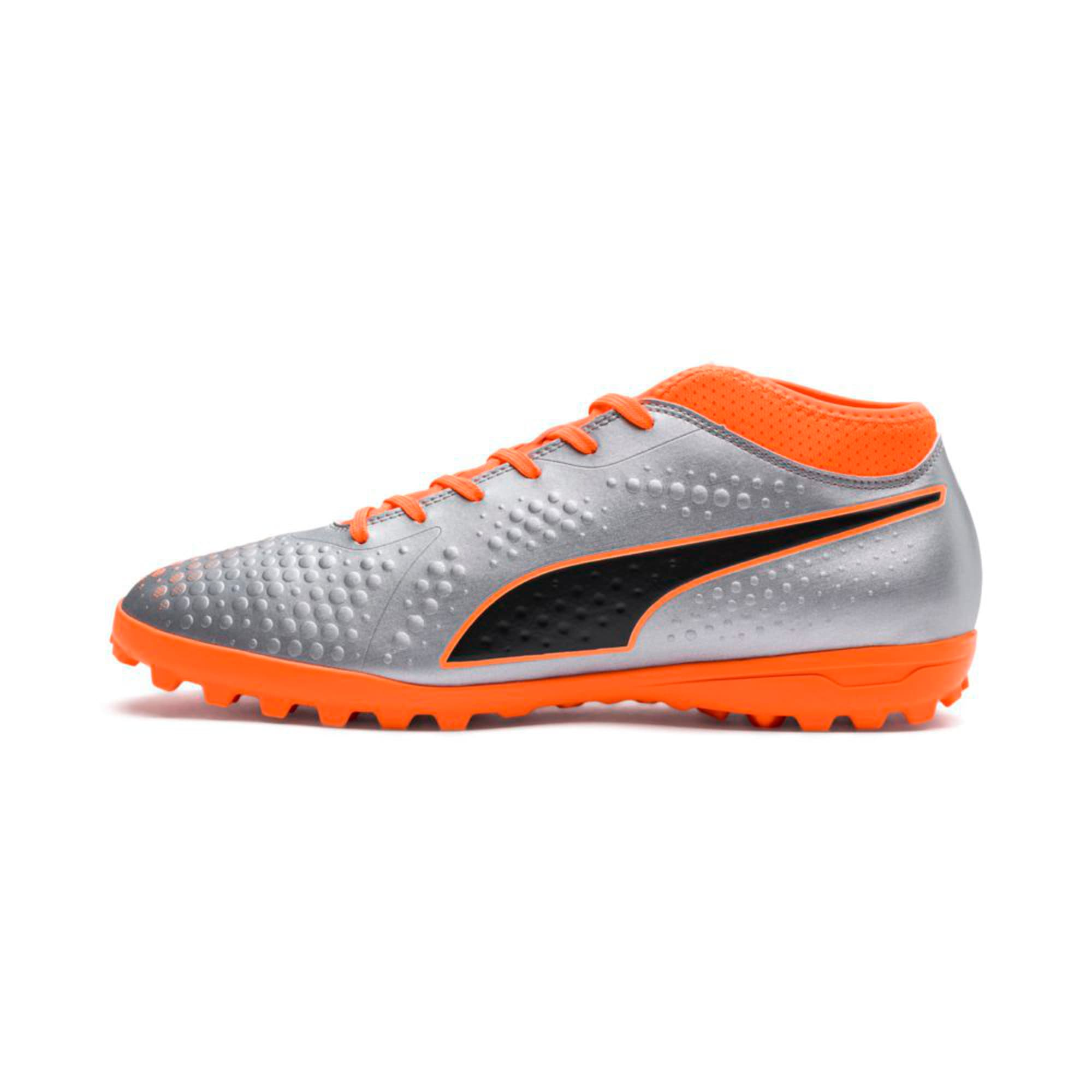 Thumbnail 1 of PUMA ONE 4 Synthetic TT Men's Football Boots, Silver-Orange-Black, medium-IND