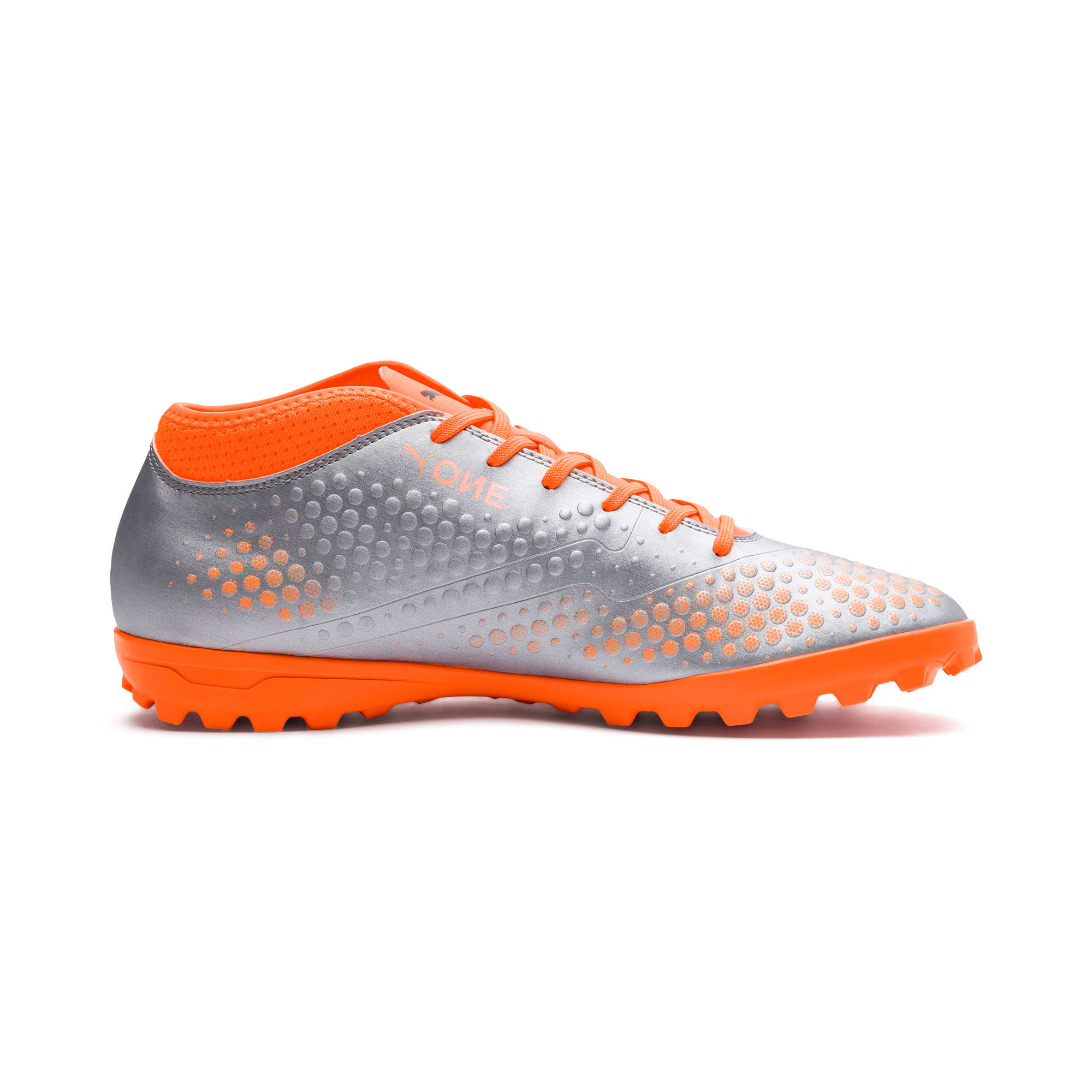 Thumbnail 6 of PUMA ONE 4 Synthetic TT Men's Football Boots, Silver-Orange-Black, medium-IND