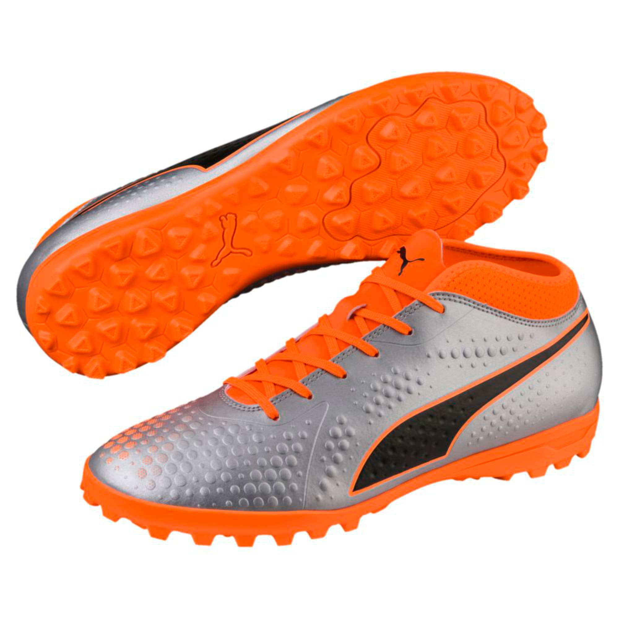 Thumbnail 4 of PUMA ONE 4 Synthetic TT Men's Football Boots, Silver-Orange-Black, medium-IND