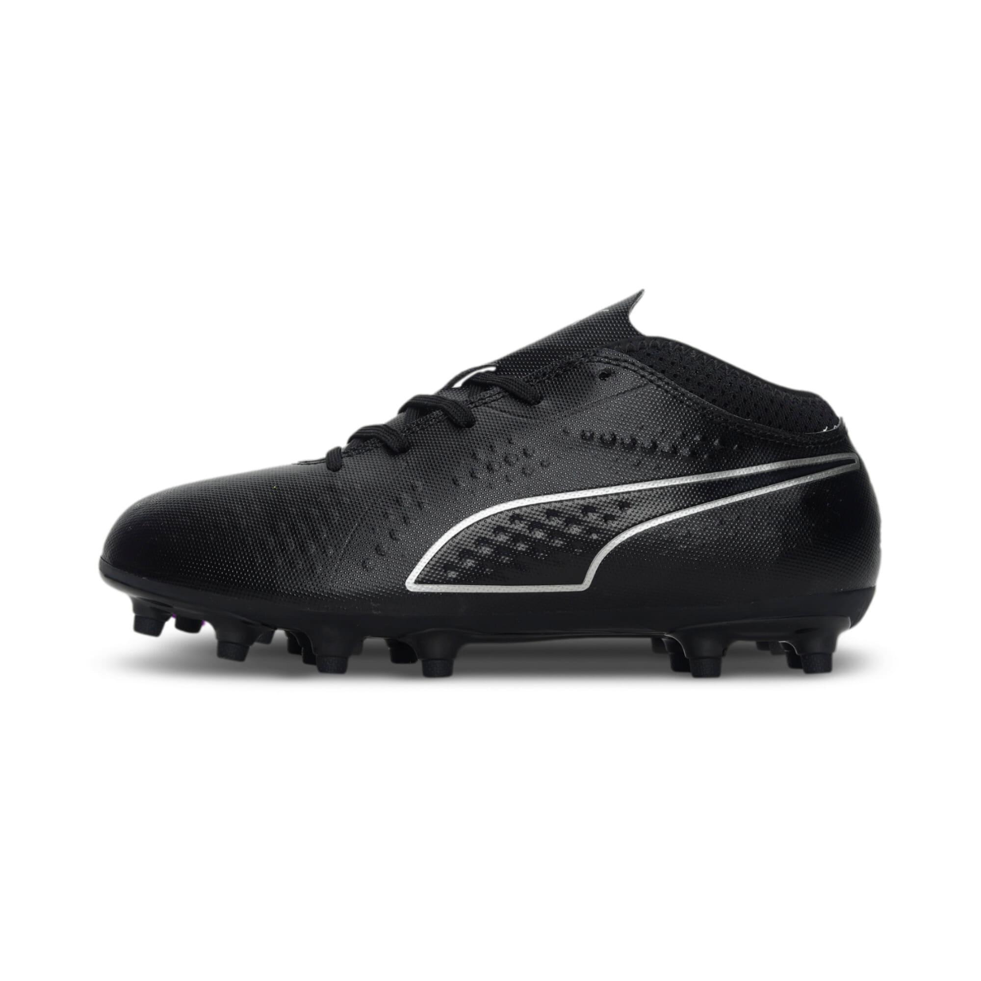 Thumbnail 1 of PUMA ONE 4 Synthetic FG Kids' Football Boots, Black-Black-Black, medium-IND