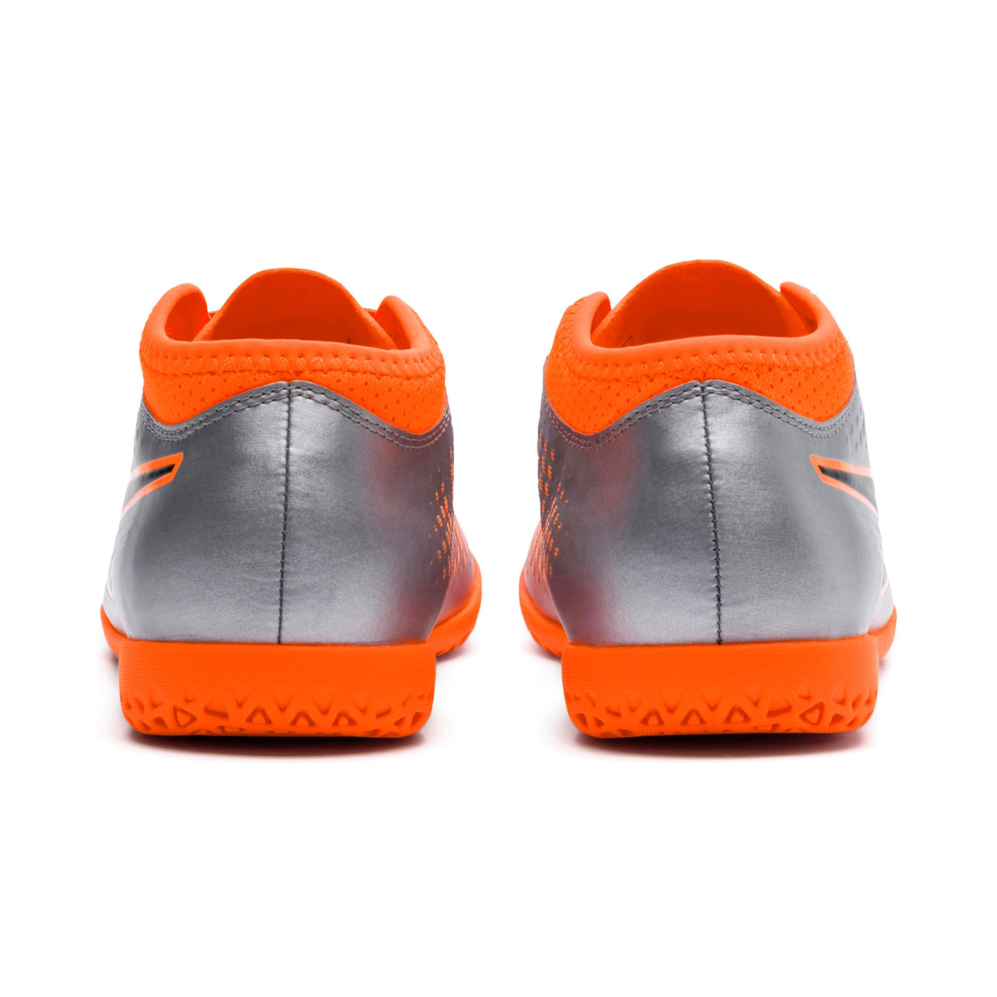 Thumbnail 3 of PUMA ONE 4 Synthetic IT Kids' Football Shoes, Silver-Orange-Black, medium-IND