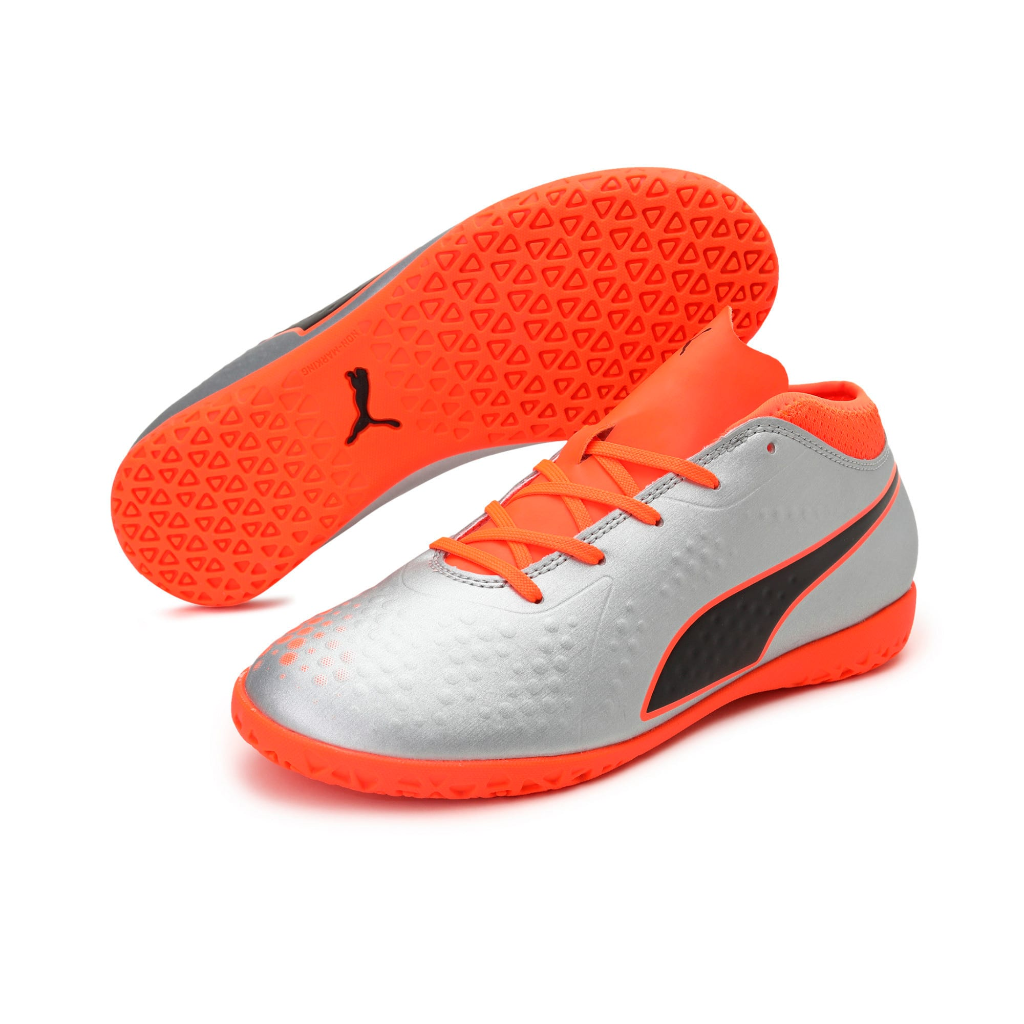 Thumbnail 2 of PUMA ONE 4 Synthetic IT Kids' Football Shoes, Silver-Orange-Black, medium-IND