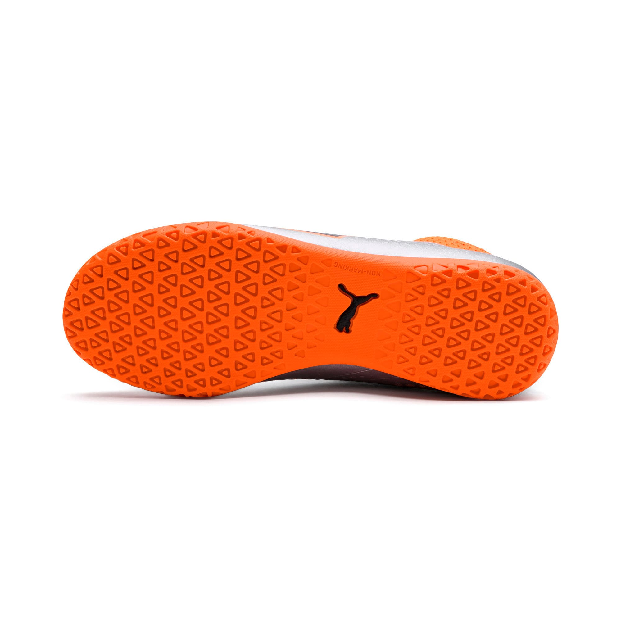 Thumbnail 4 of PUMA ONE 4 Synthetic IT Kids' Football Shoes, Silver-Orange-Black, medium-IND