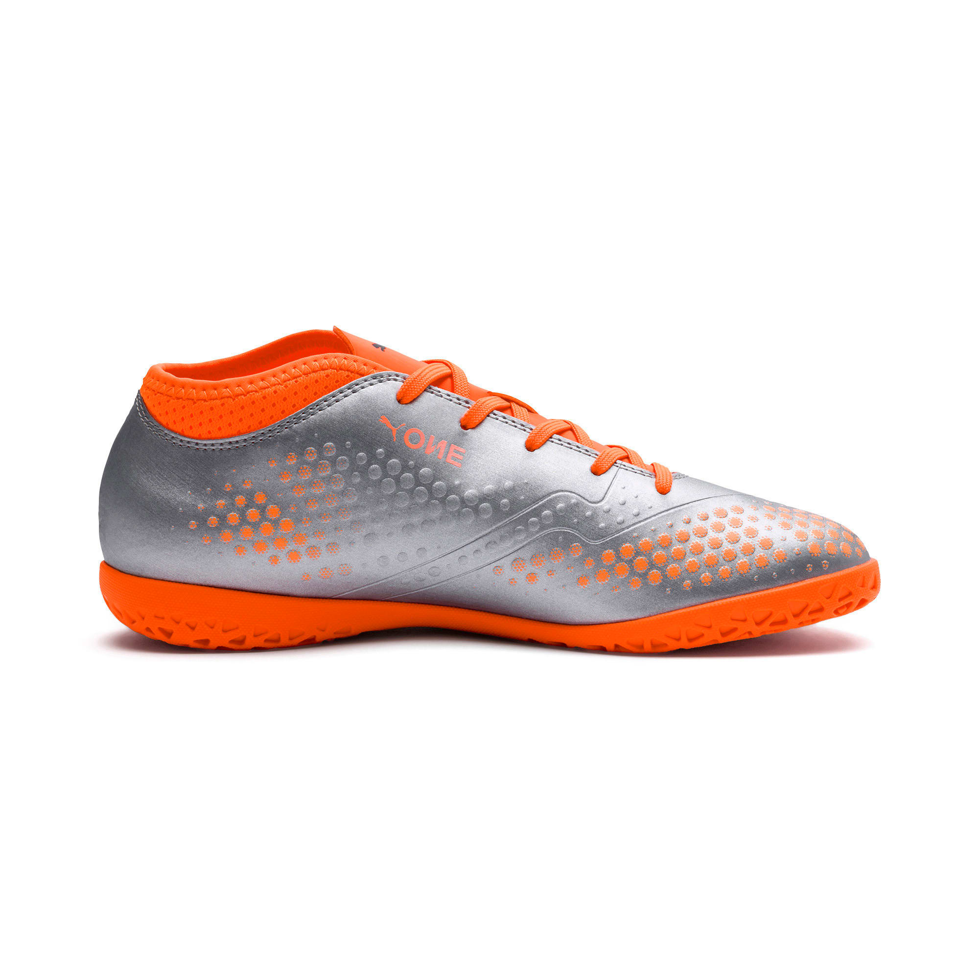 Thumbnail 5 of PUMA ONE 4 Synthetic IT Kids' Football Shoes, Silver-Orange-Black, medium-IND