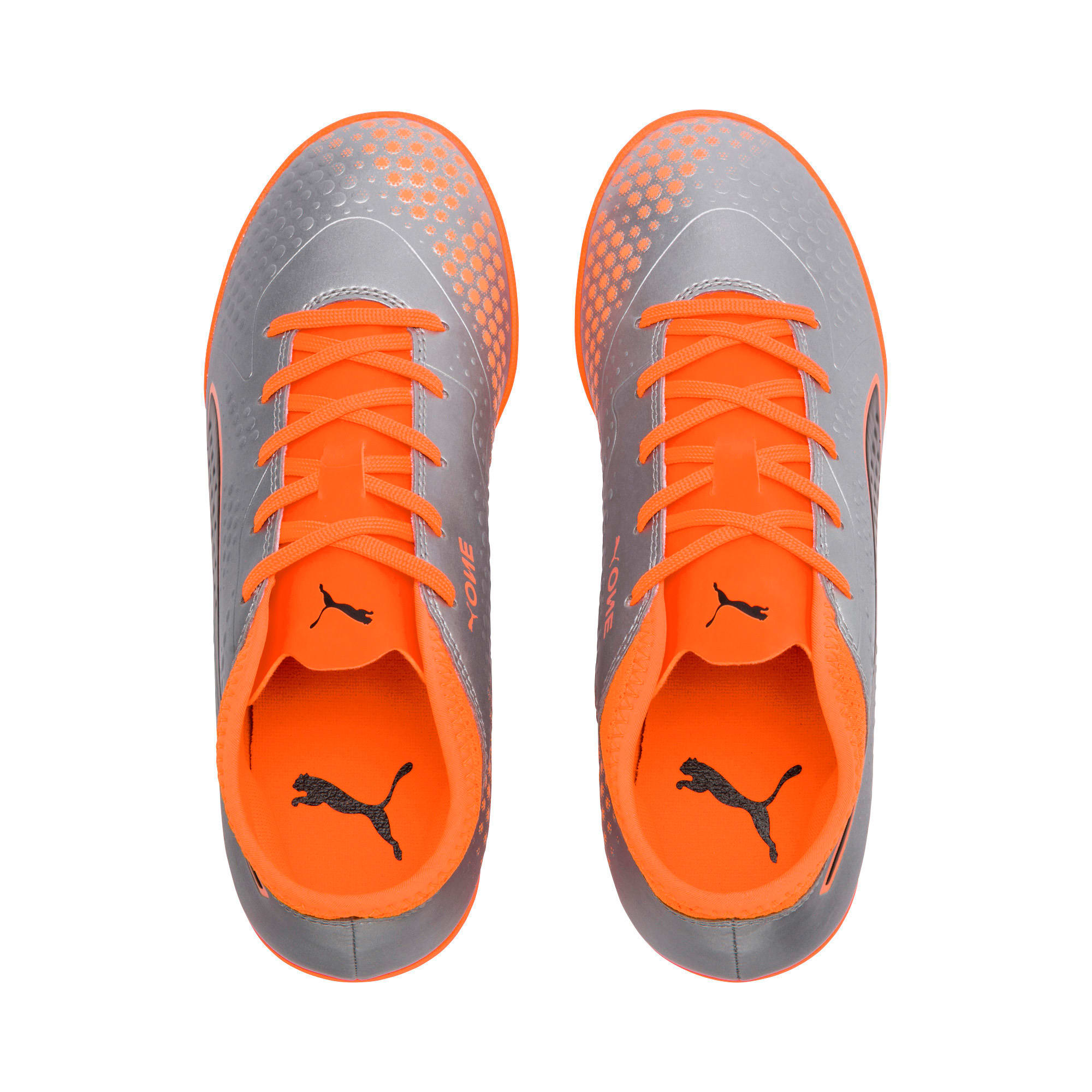 Thumbnail 6 of PUMA ONE 4 Synthetic IT Kids' Football Shoes, Silver-Orange-Black, medium-IND