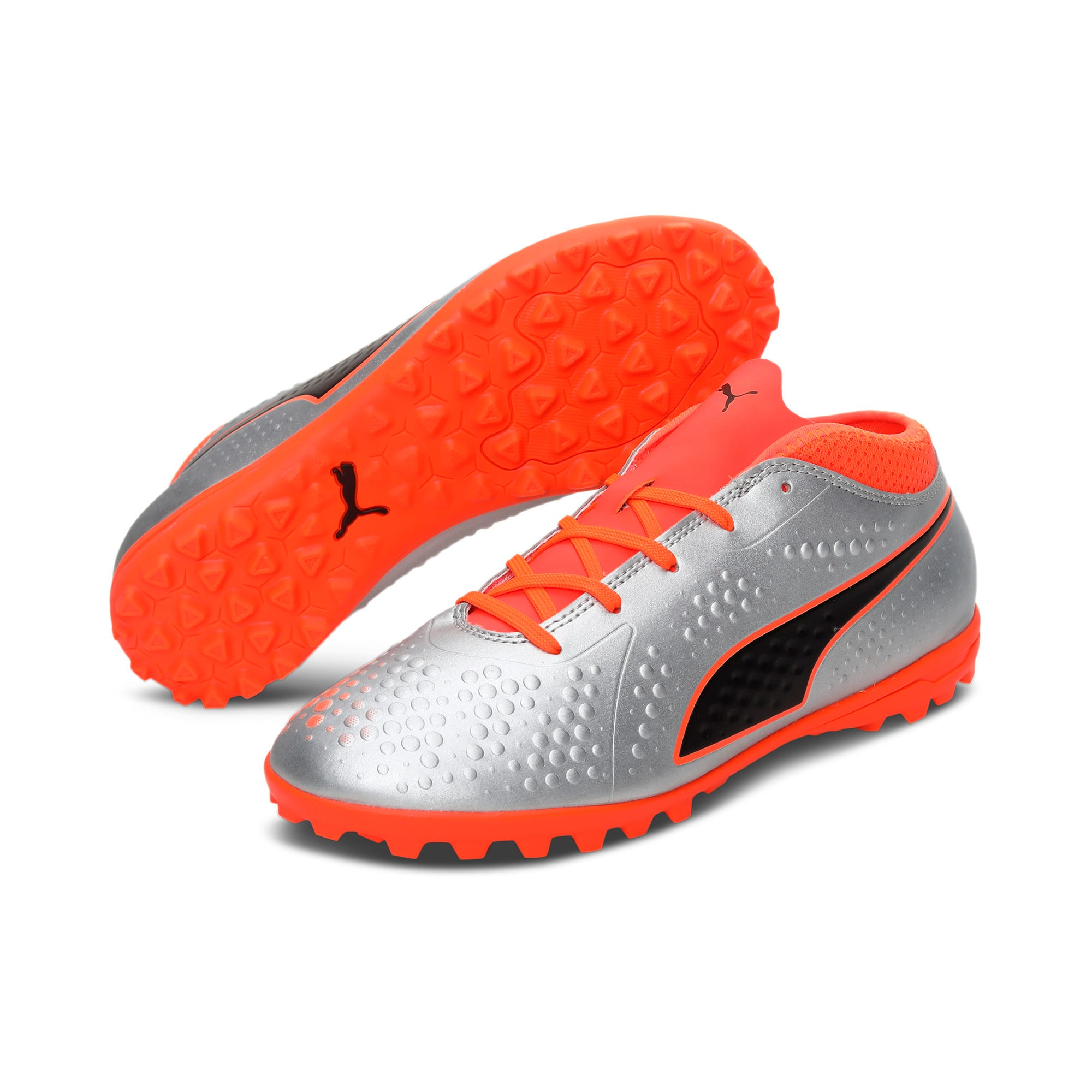 Thumbnail 2 of PUMA ONE 4 Synthetic IT Kid's Football Shoes, Silver-Orange-Black, medium-IND