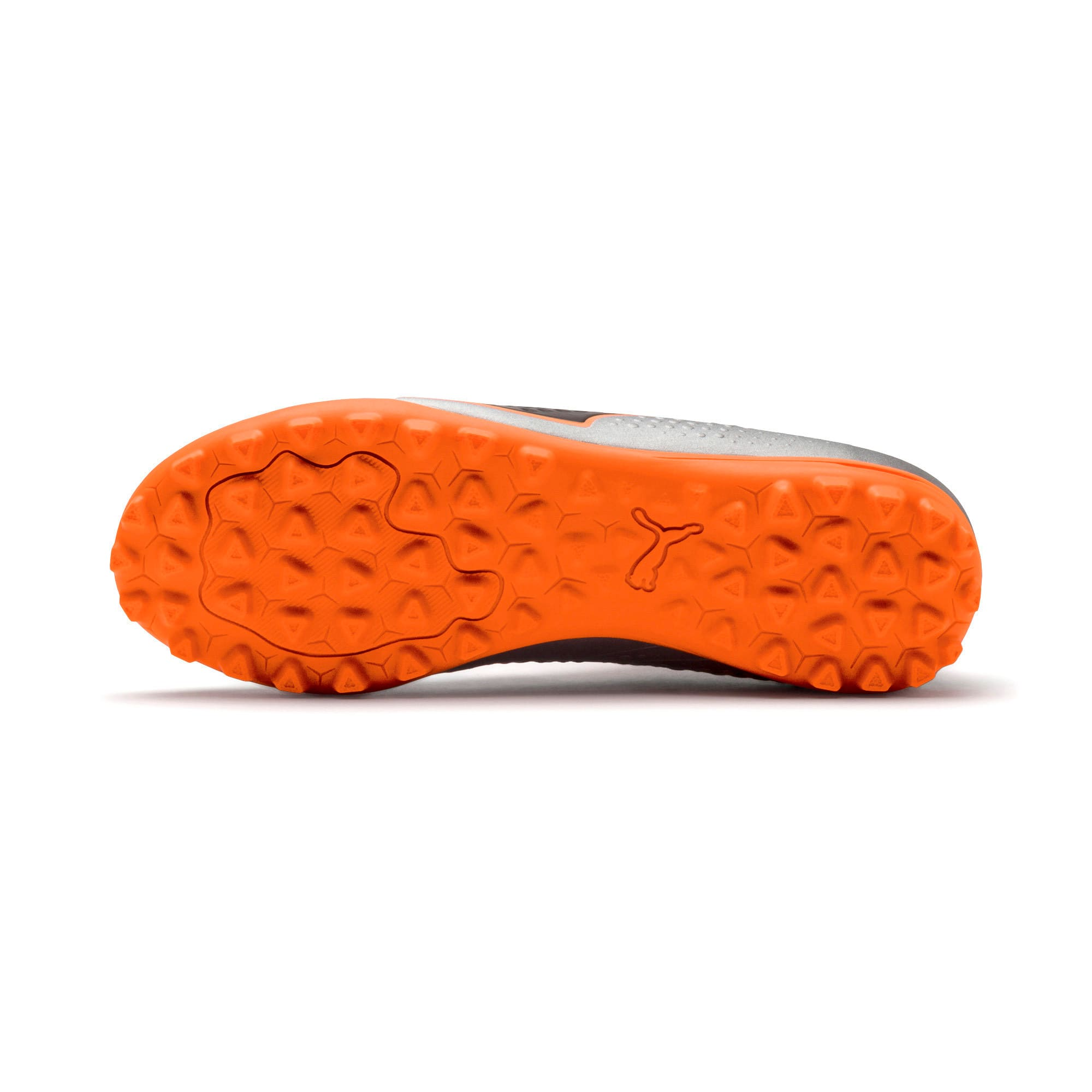 Thumbnail 4 of PUMA ONE 4 Synthetic IT Kid's Football Shoes, Silver-Orange-Black, medium-IND