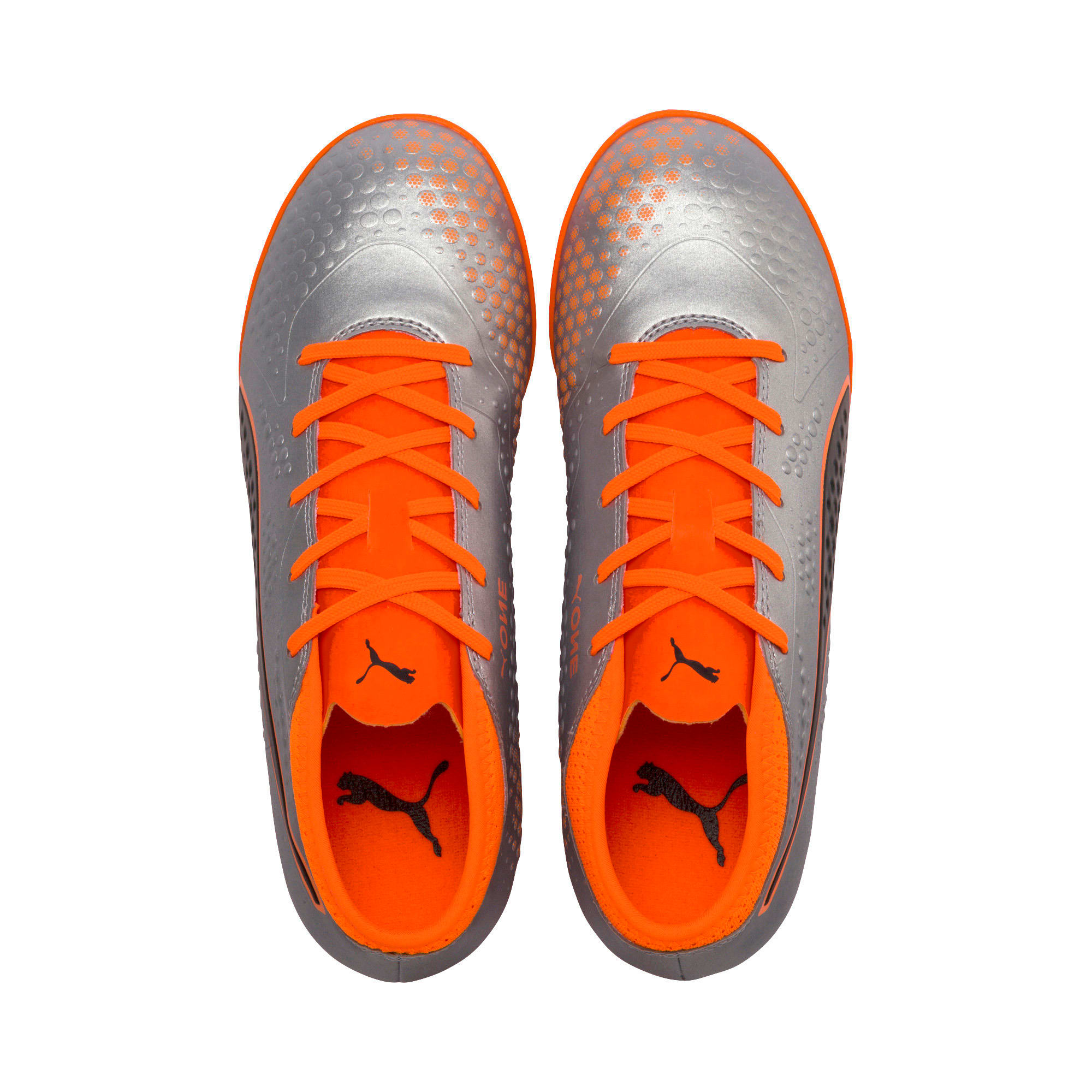 Thumbnail 6 of PUMA ONE 4 Synthetic IT Kid's Football Shoes, Silver-Orange-Black, medium-IND