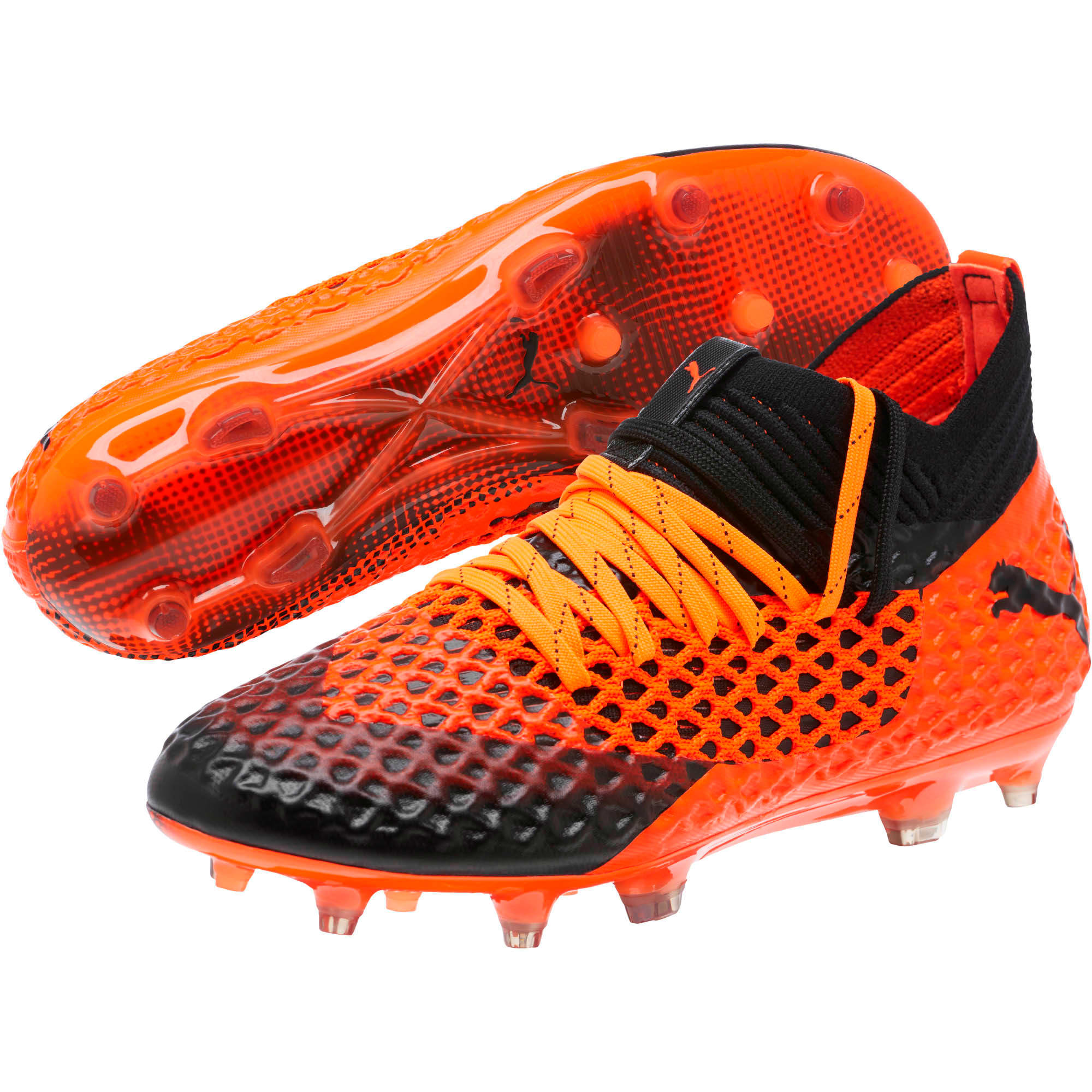 Thumbnail 2 of FUTURE 2.1 NETFIT FG/AG Soccer Cleats JR, Black-Orange, medium