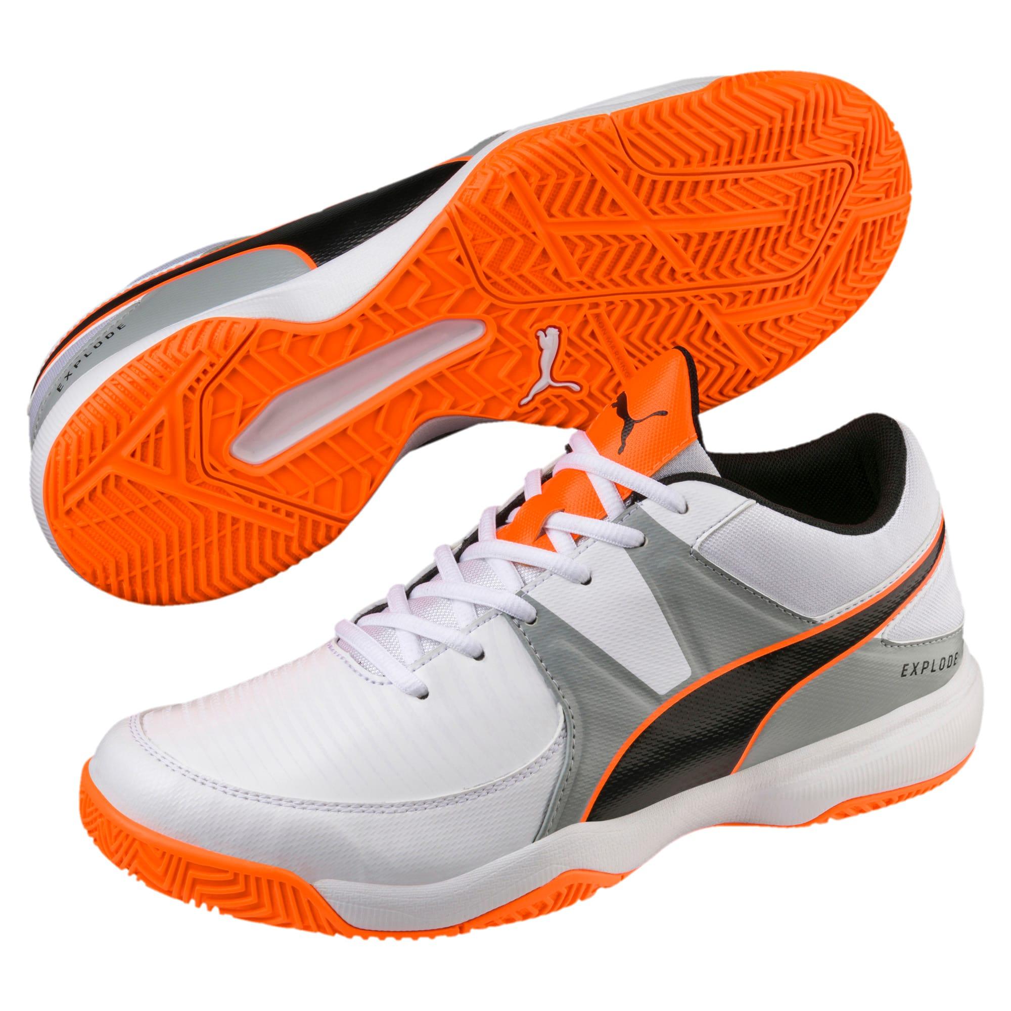 Thumbnail 2 of Explode 3 Men's Indoor Training Shoes, White-Quarry-Orange, medium-IND