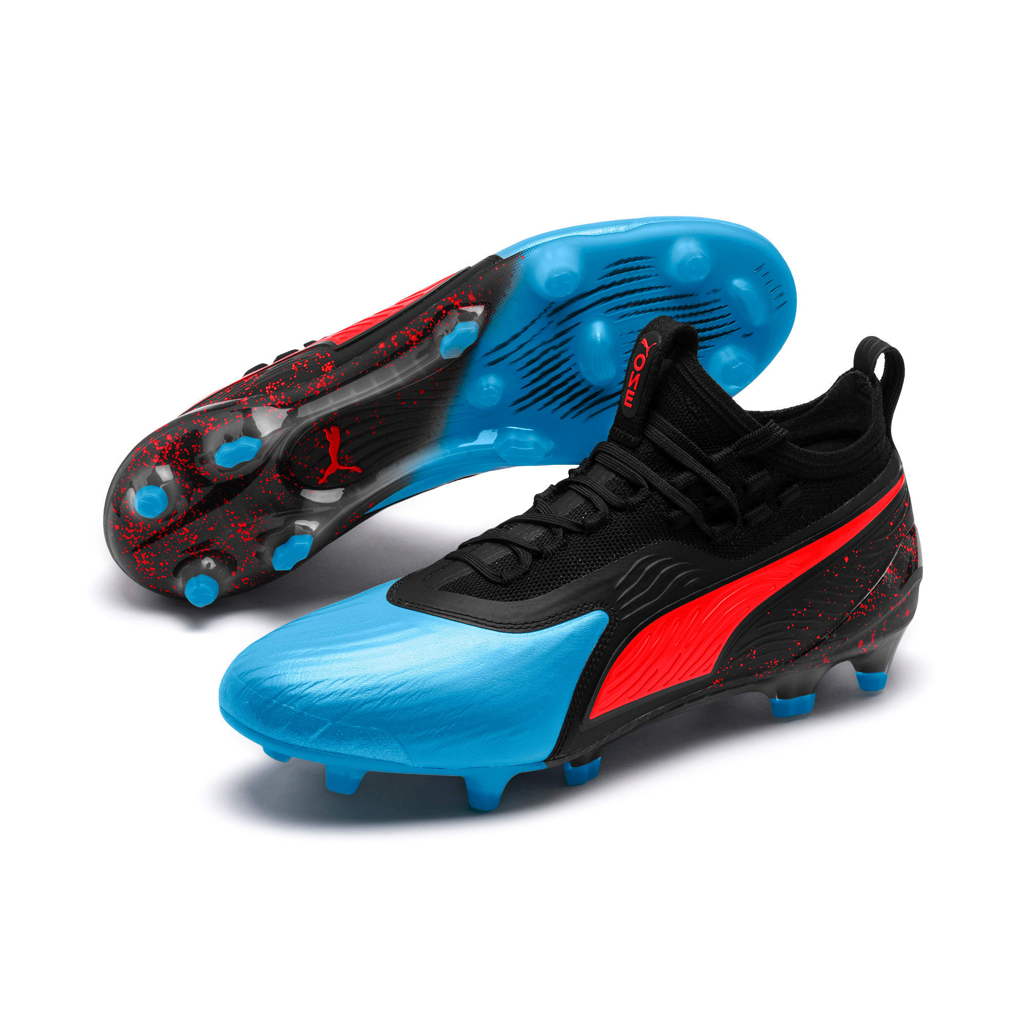 Thumbnail 3 of PUMA ONE 19.1 evoKNIT FG/AG Men's Football Boots, Bleu Azur-Red Blast-Black, medium-IND