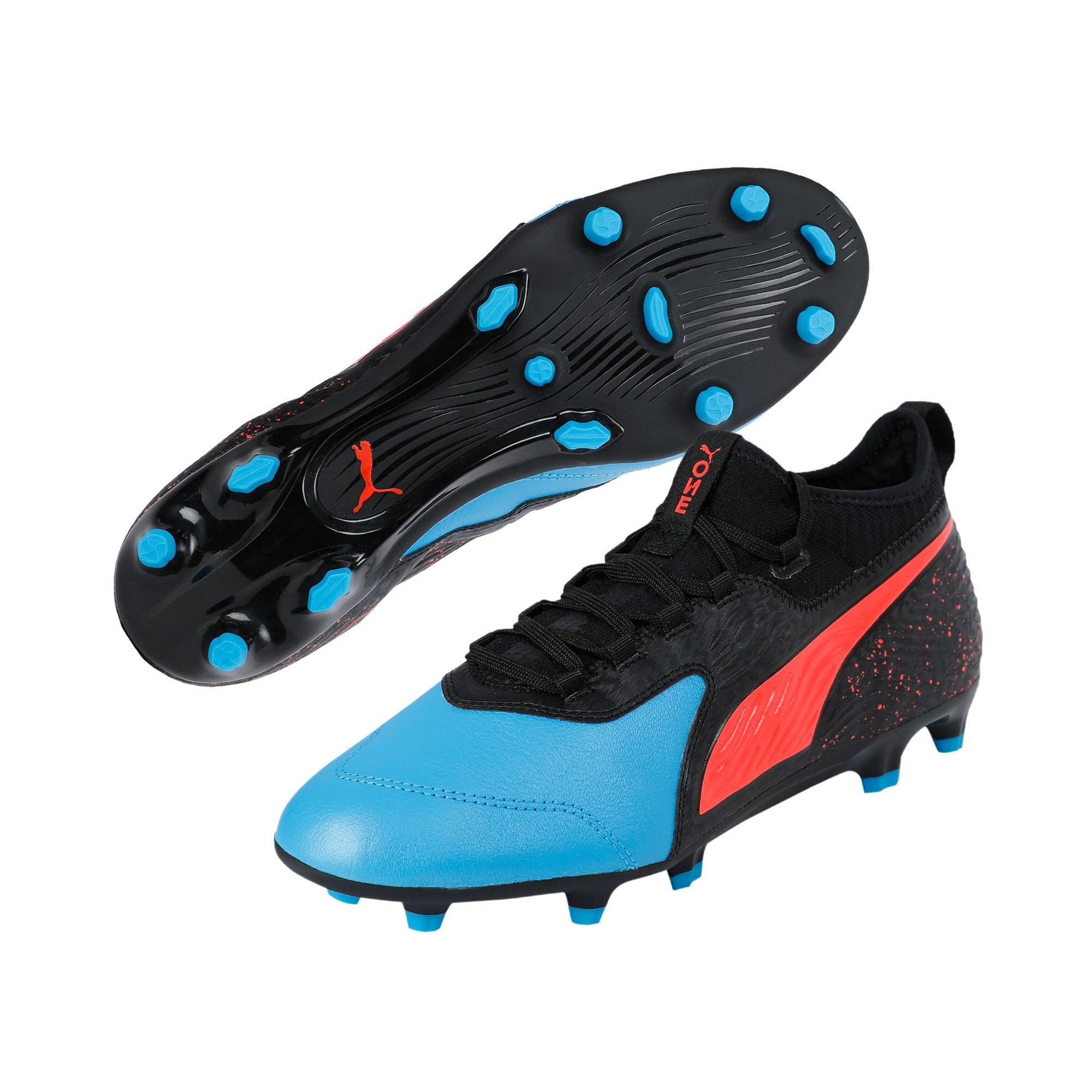 Thumbnail 2 of PUMA ONE 19.3 FG/AG Men's Football Boots, Bleu Azur-Red Blast-Black, medium-IND