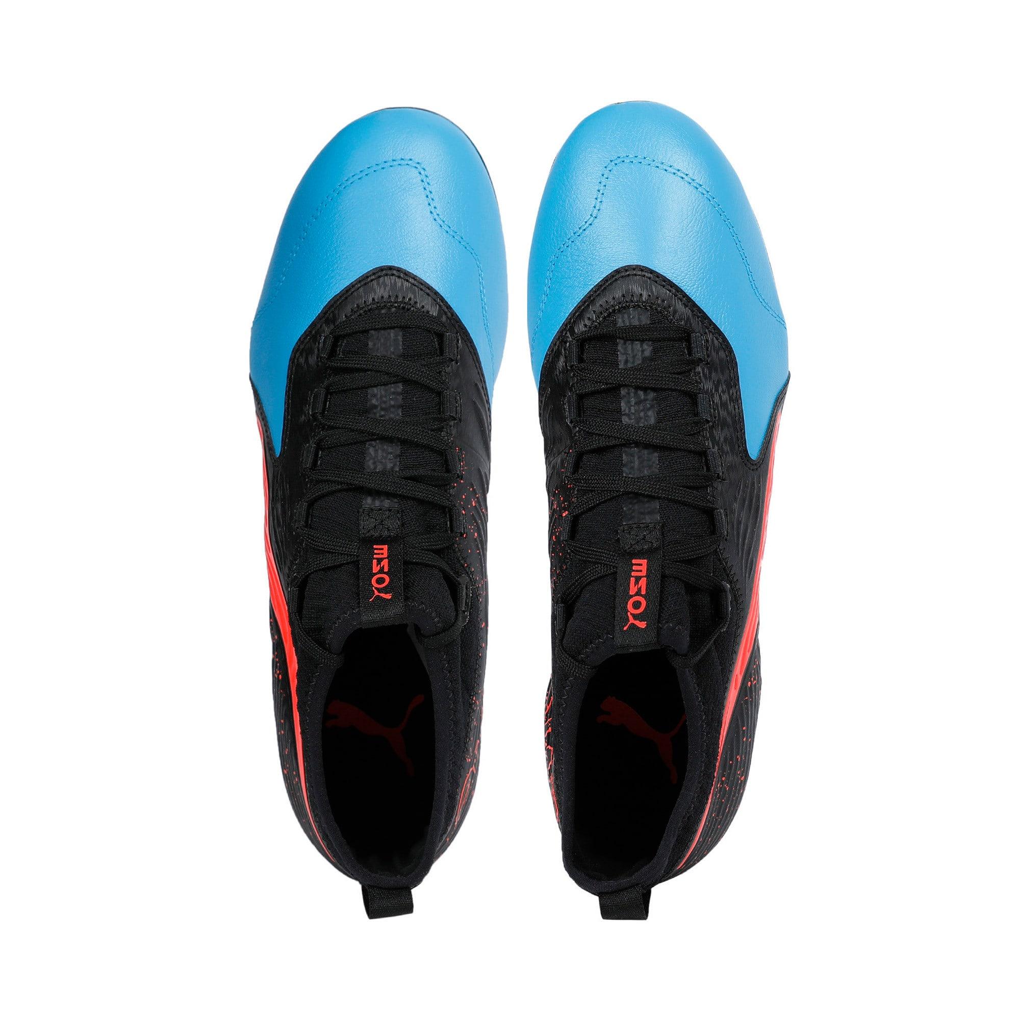 Thumbnail 6 of PUMA ONE 19.3 FG/AG Men's Football Boots, Bleu Azur-Red Blast-Black, medium-IND